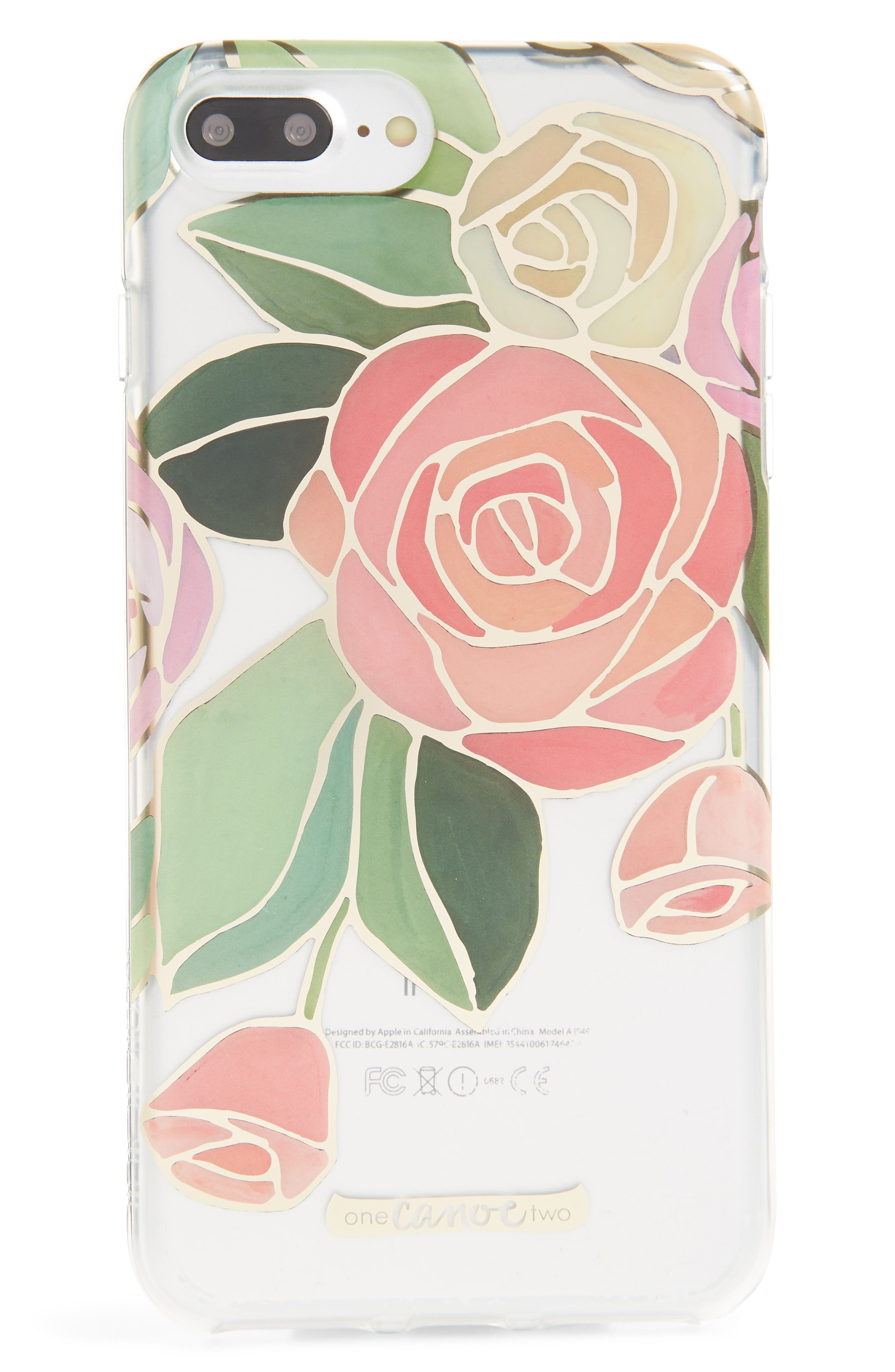 One Canoe Two Roses iPhone 7/8 & 7/8 Plus Case,                             Main thumbnail 1, color,                             Pink/ Clear Multi