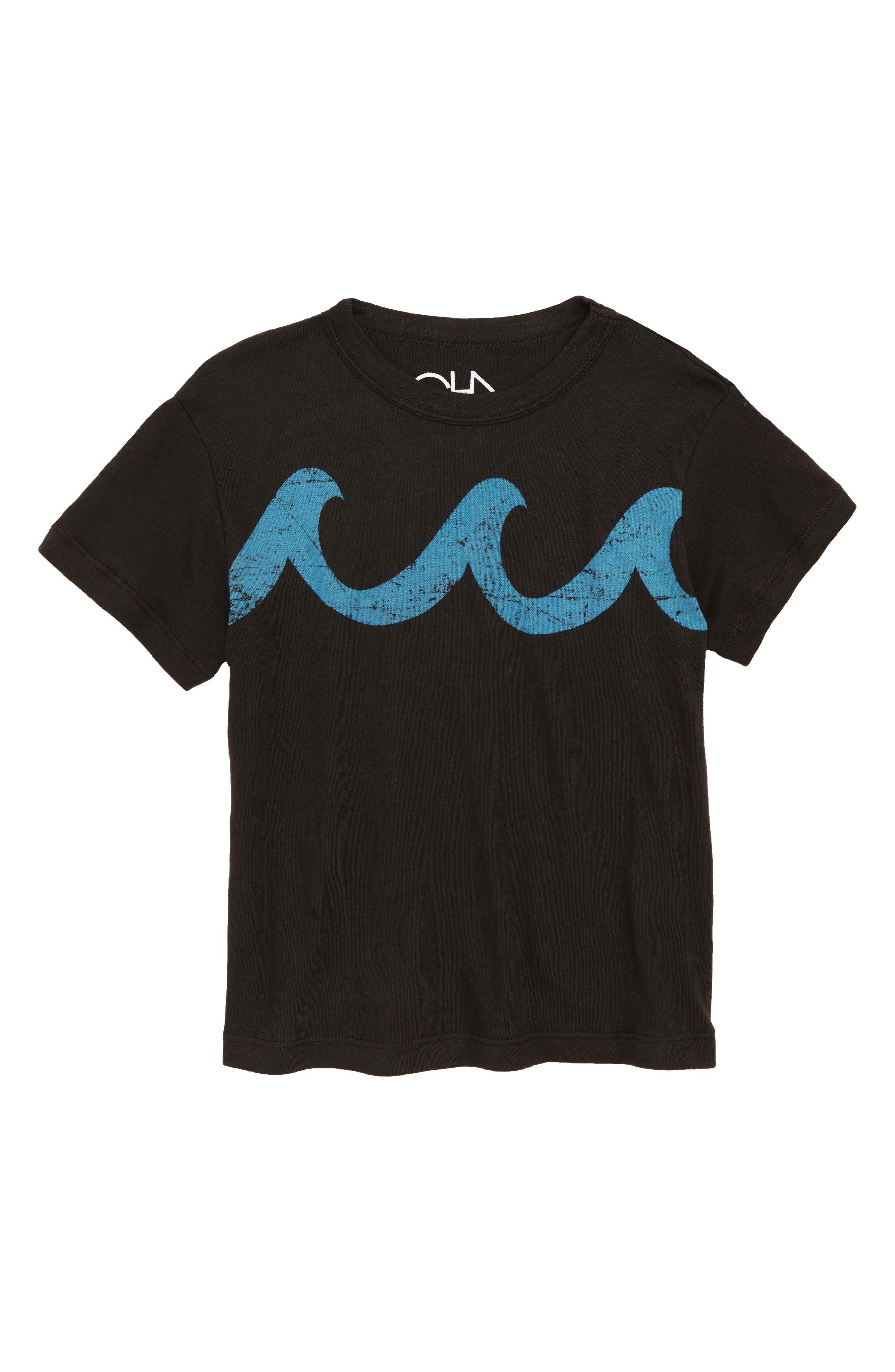 Blue Waves Graphic T-Shirt,                             Main thumbnail 1, color,                             Vintage Black