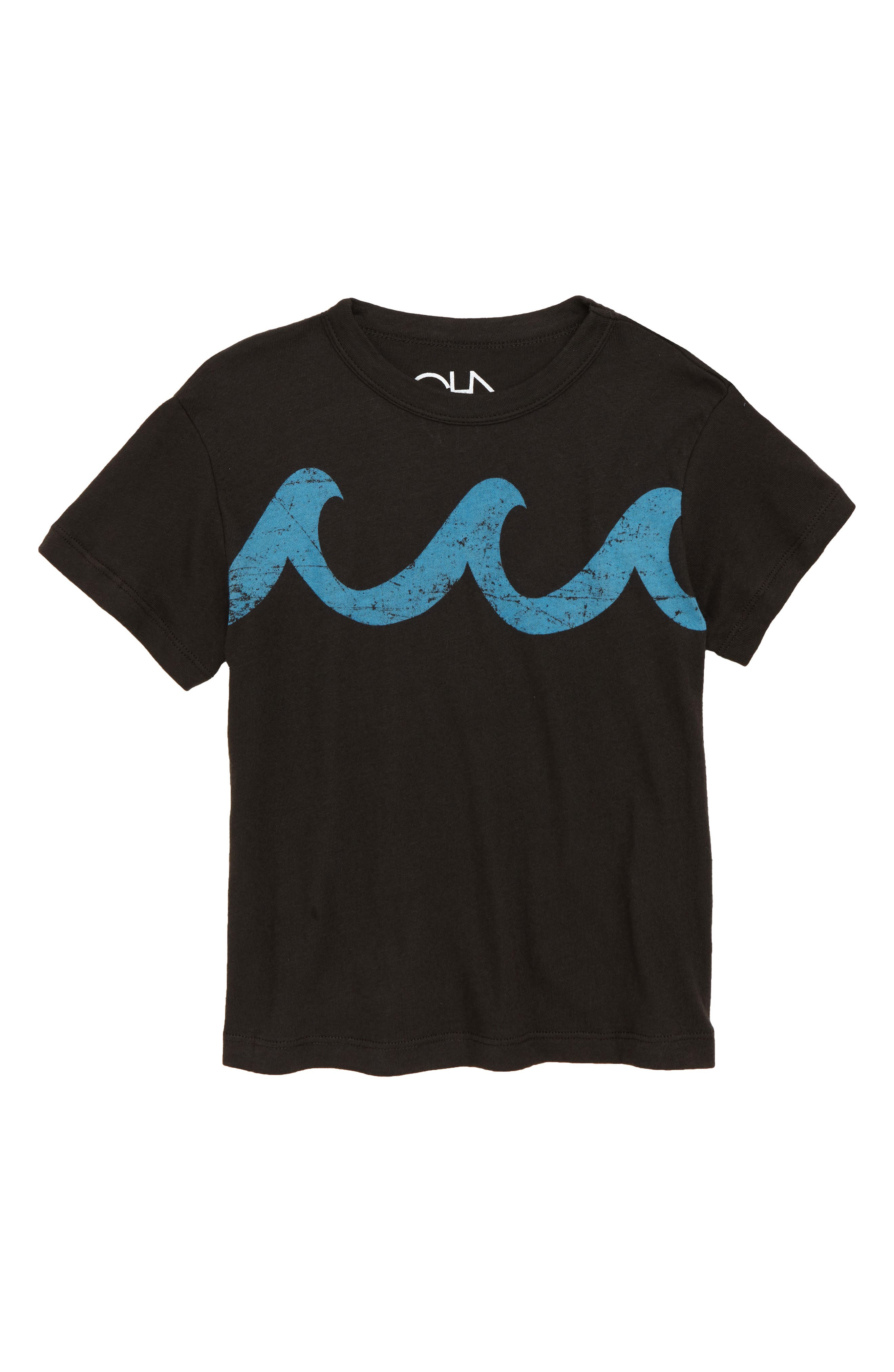 Blue Waves Graphic T-Shirt,                         Main,                         color, Vintage Black