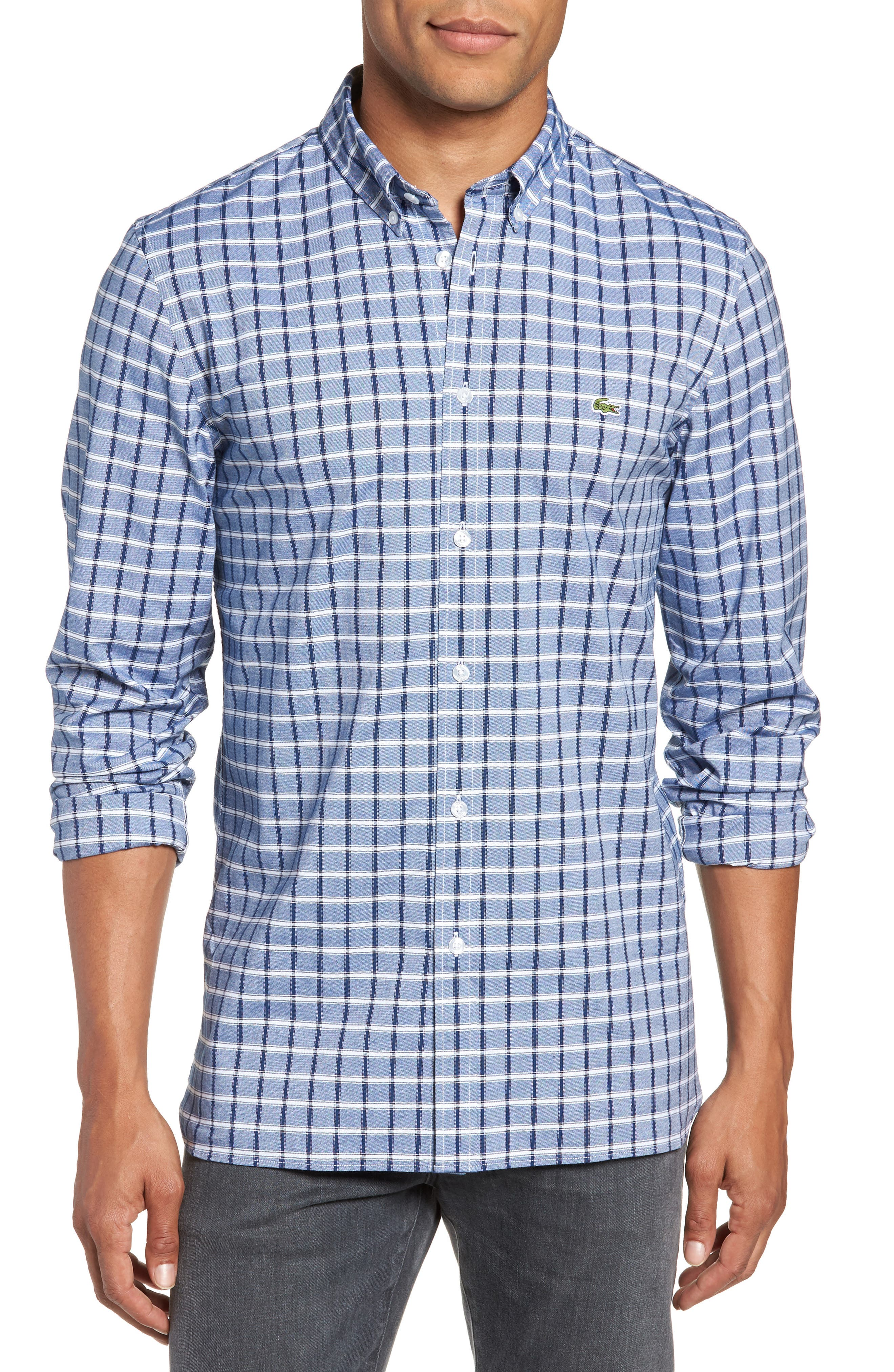 Slim Fit Check Oxford Sport Shirt,                         Main,                         color, Navy Blue