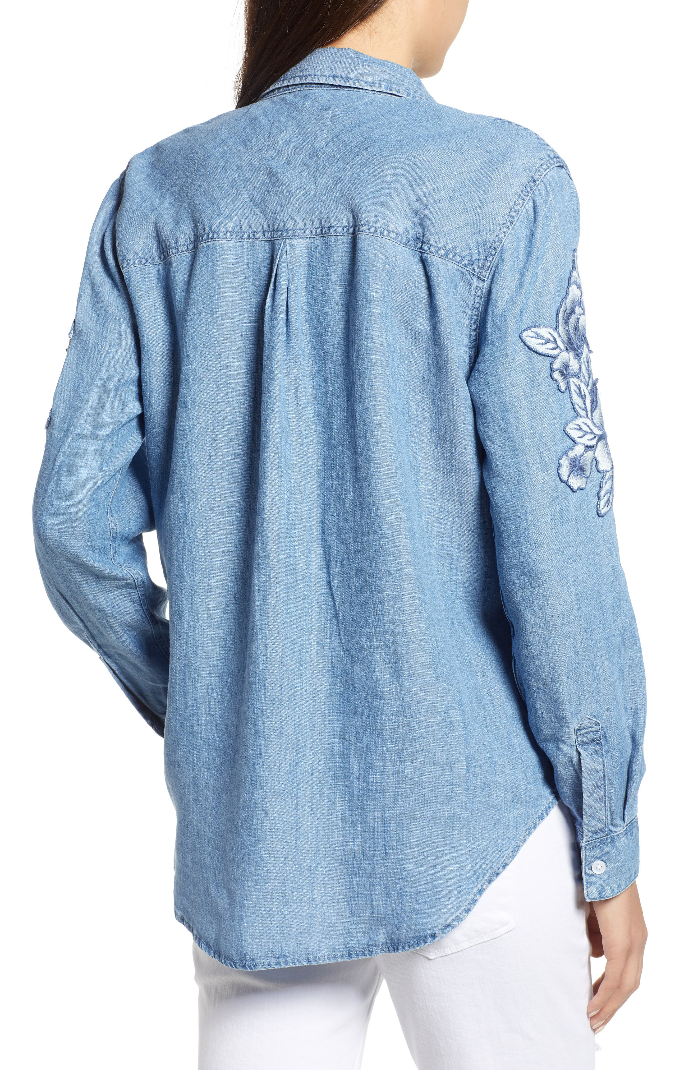 Ingrid Embroidered Chambray Shirt,                             Alternate thumbnail 2, color,                             Medium Vintage W/ White Floral