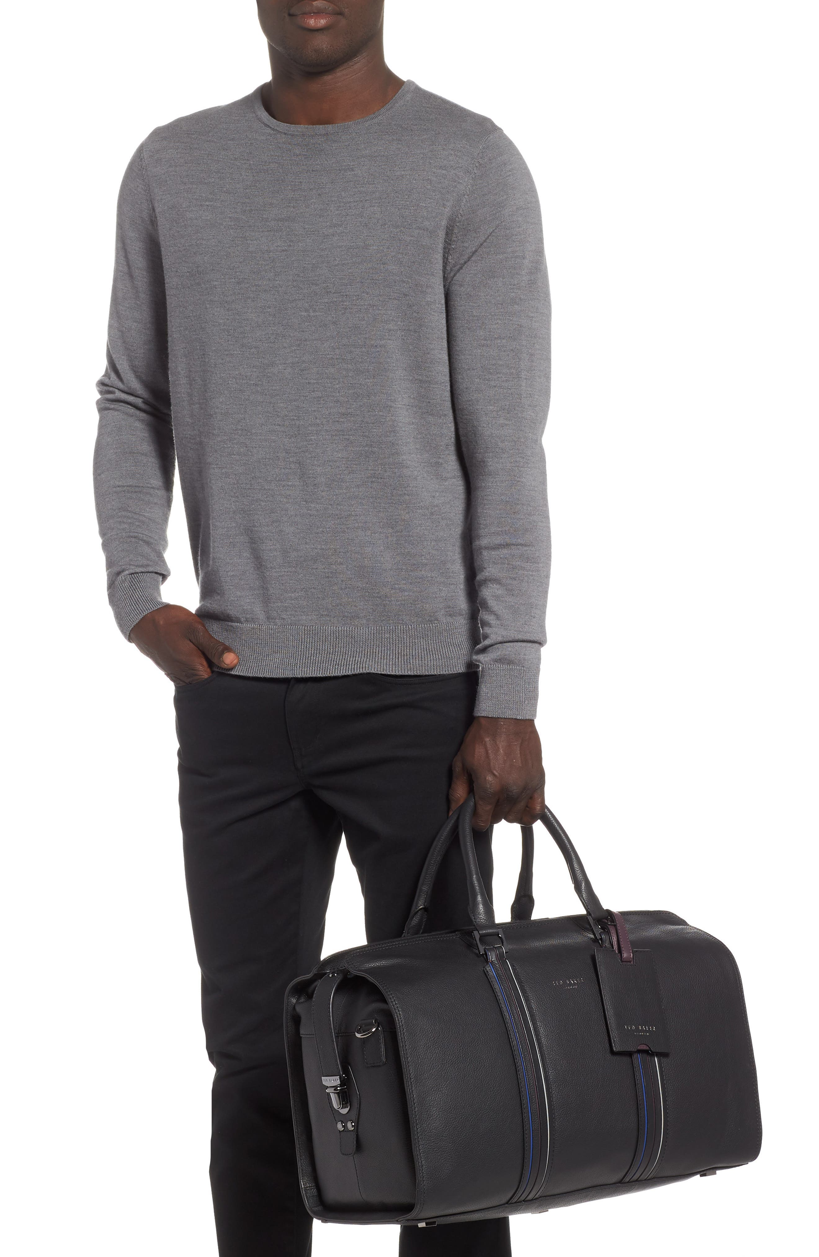 Geeves Stripe Leather Duffel Bag,                             Alternate thumbnail 2, color,                             Black