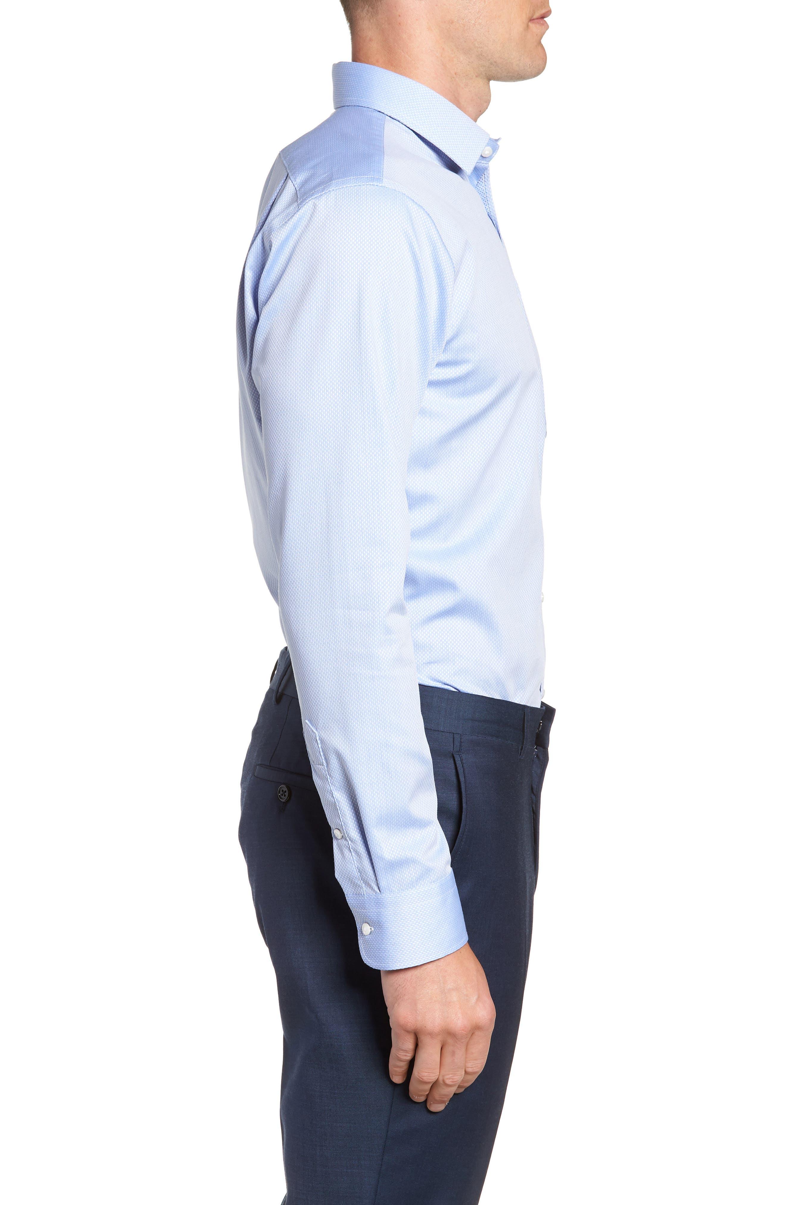 Trim Fit Solid Dress Shirt,                             Alternate thumbnail 4, color,                             Blue Azurite