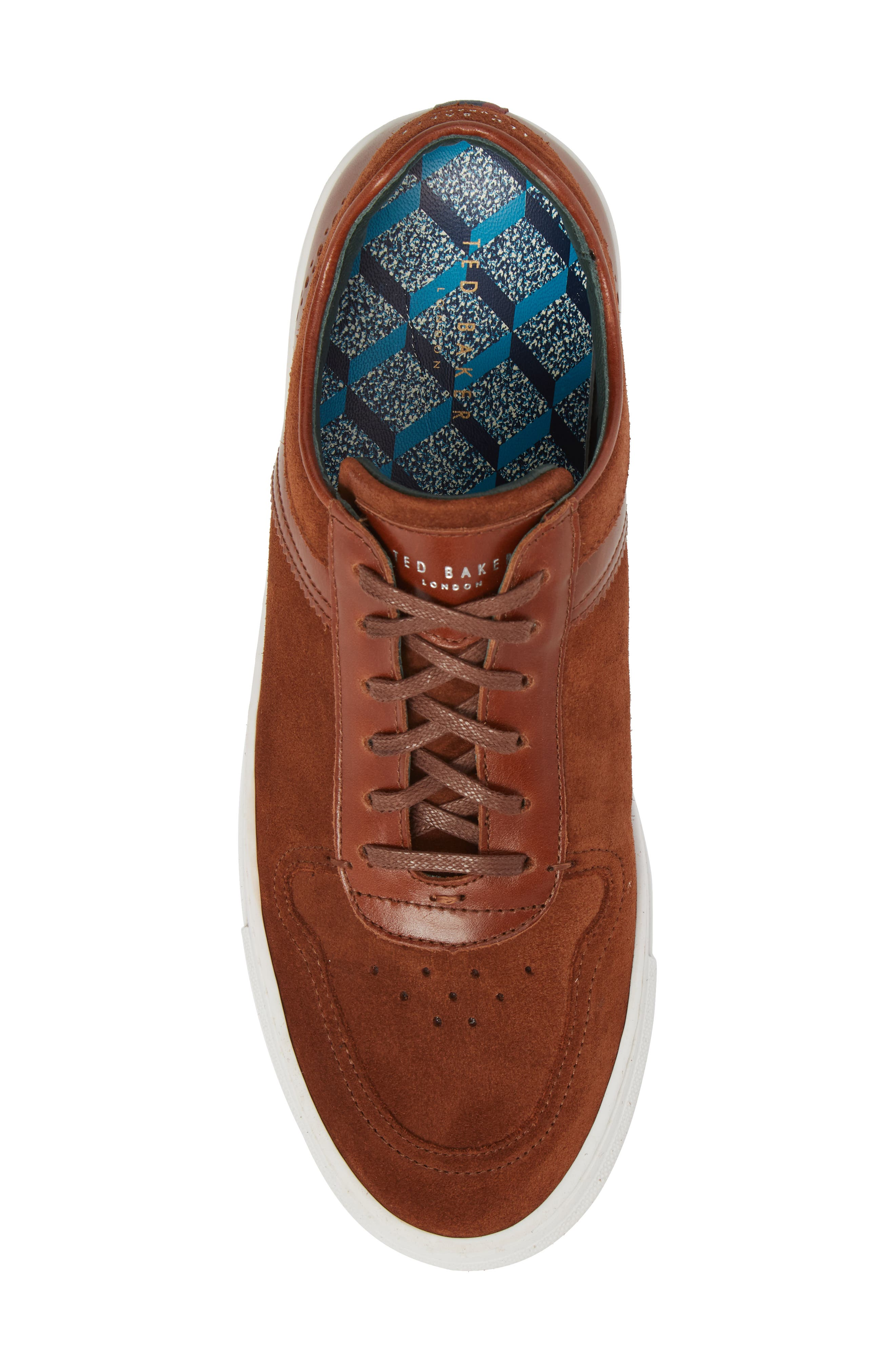 Burall Sneaker,                             Alternate thumbnail 3, color,                             Dark Tan Suede