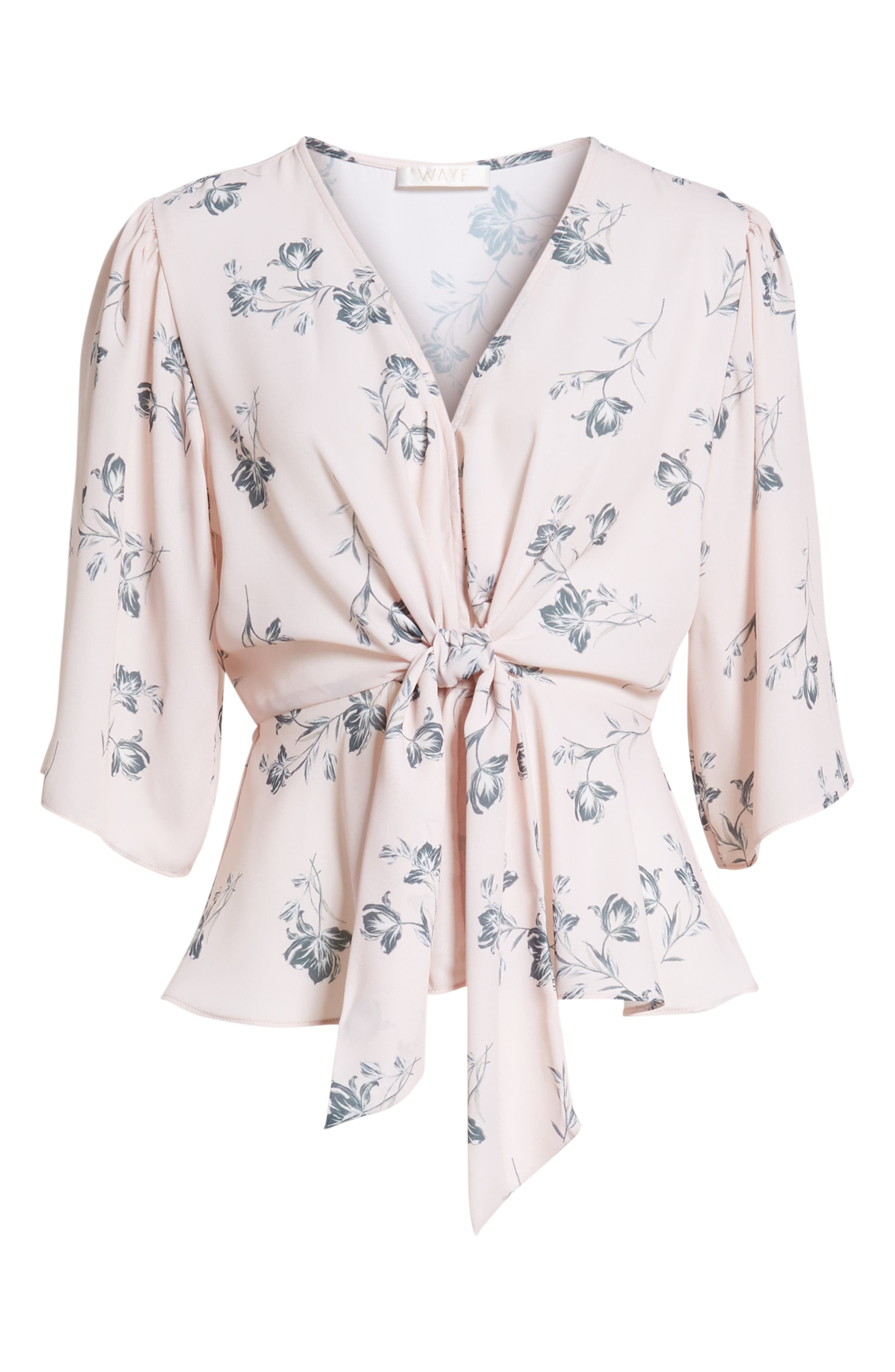 Plunging Knot Front Top,                             Alternate thumbnail 7, color,                             Rose Cloud Floral
