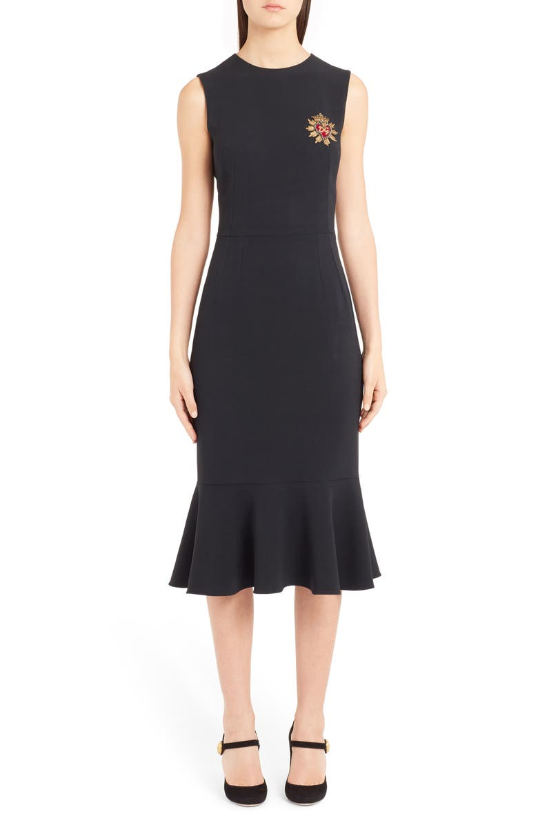 Sacred Heart Embellished Flare Hem Sheath Dress