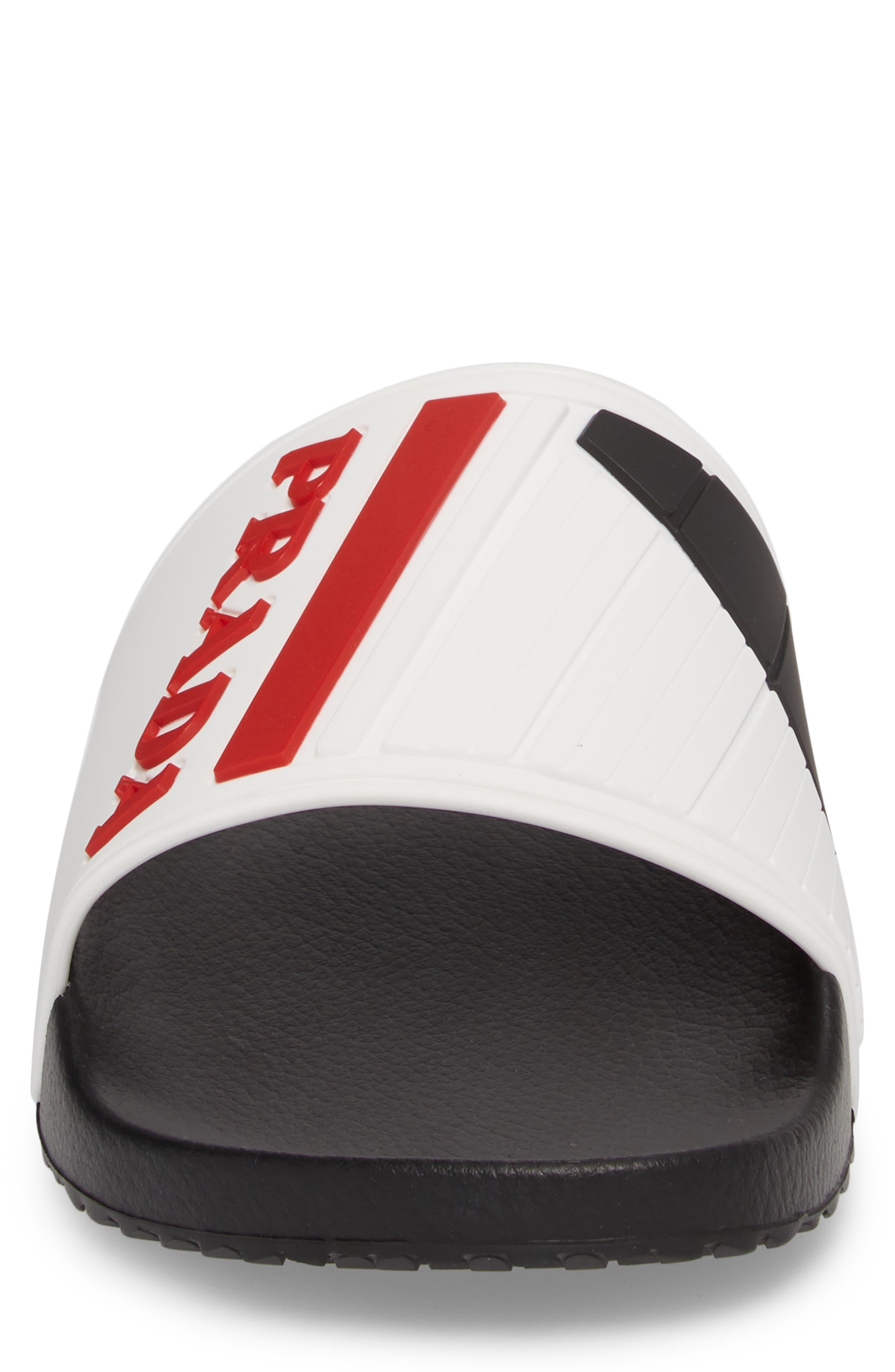 Linea Rossa Logo Slide Sandal,                             Alternate thumbnail 4, color,                             White/ Rosso