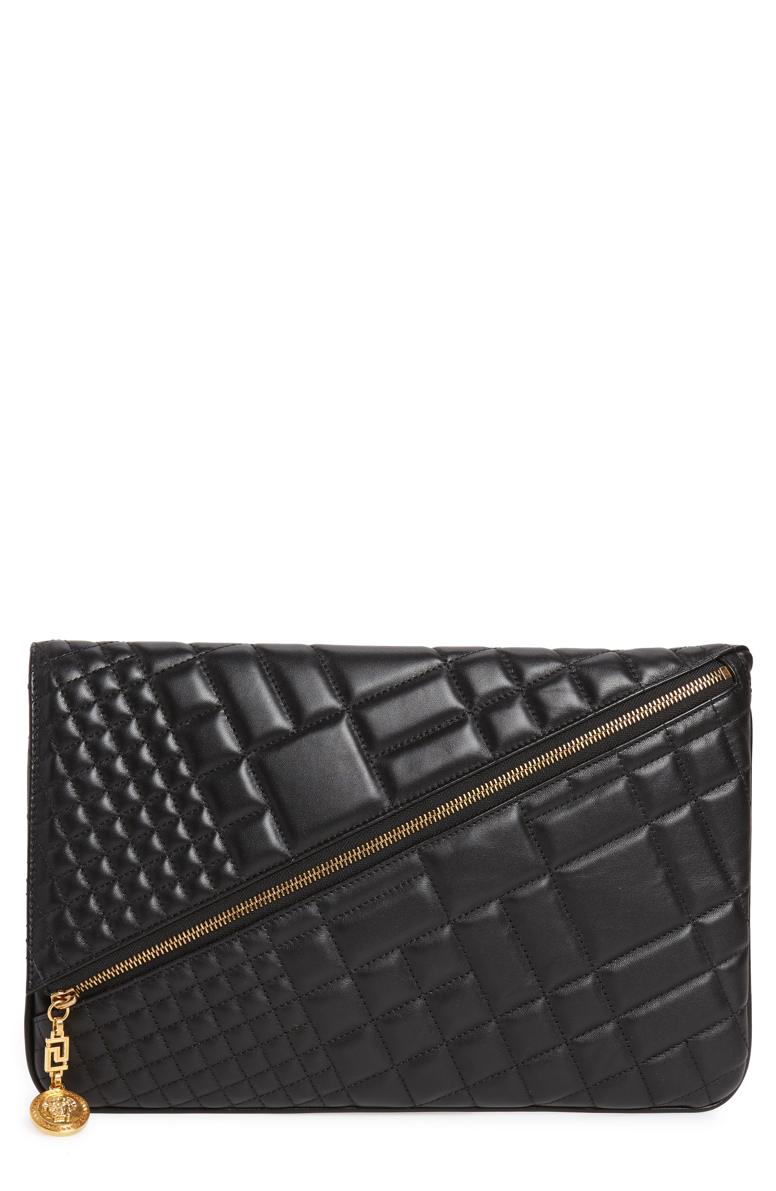 OVERSIZED QUILTED LEATHER CLUTCH - BLACK