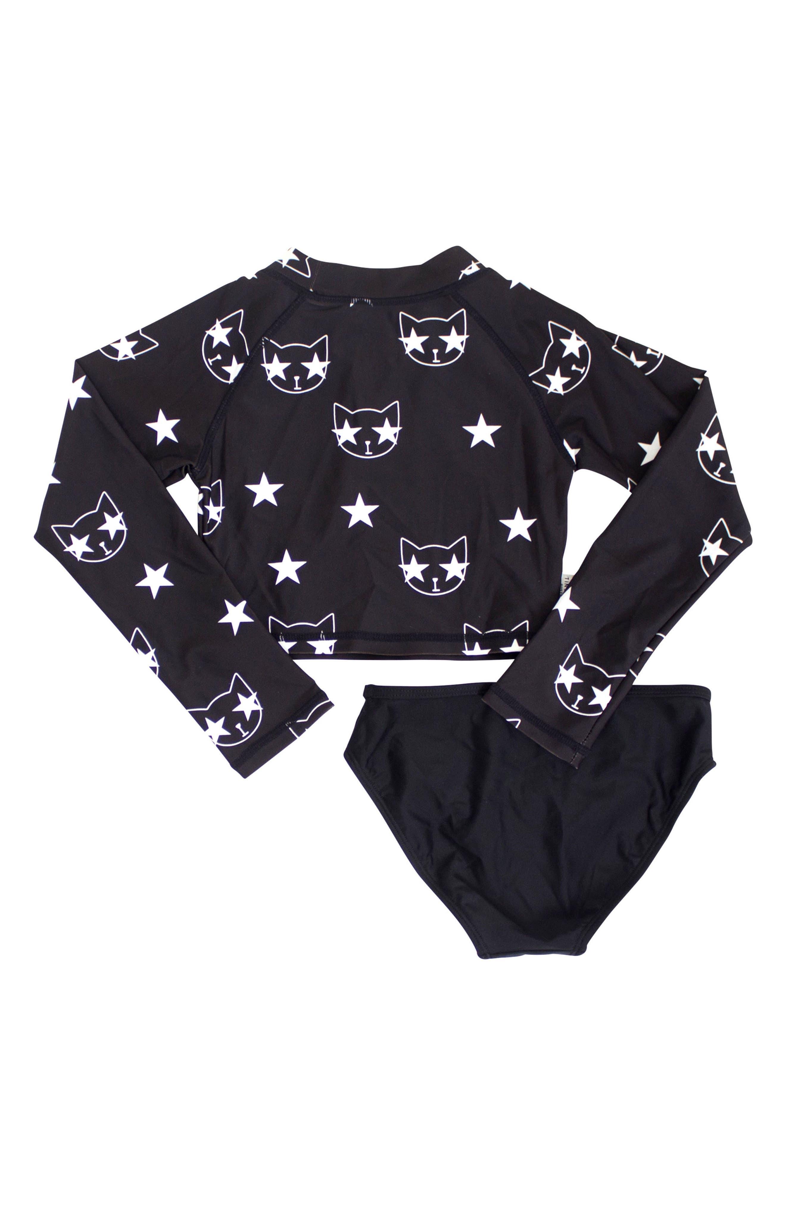 Starcat Two-Piece Rashguard Swimsuit,                             Alternate thumbnail 2, color,                             Black