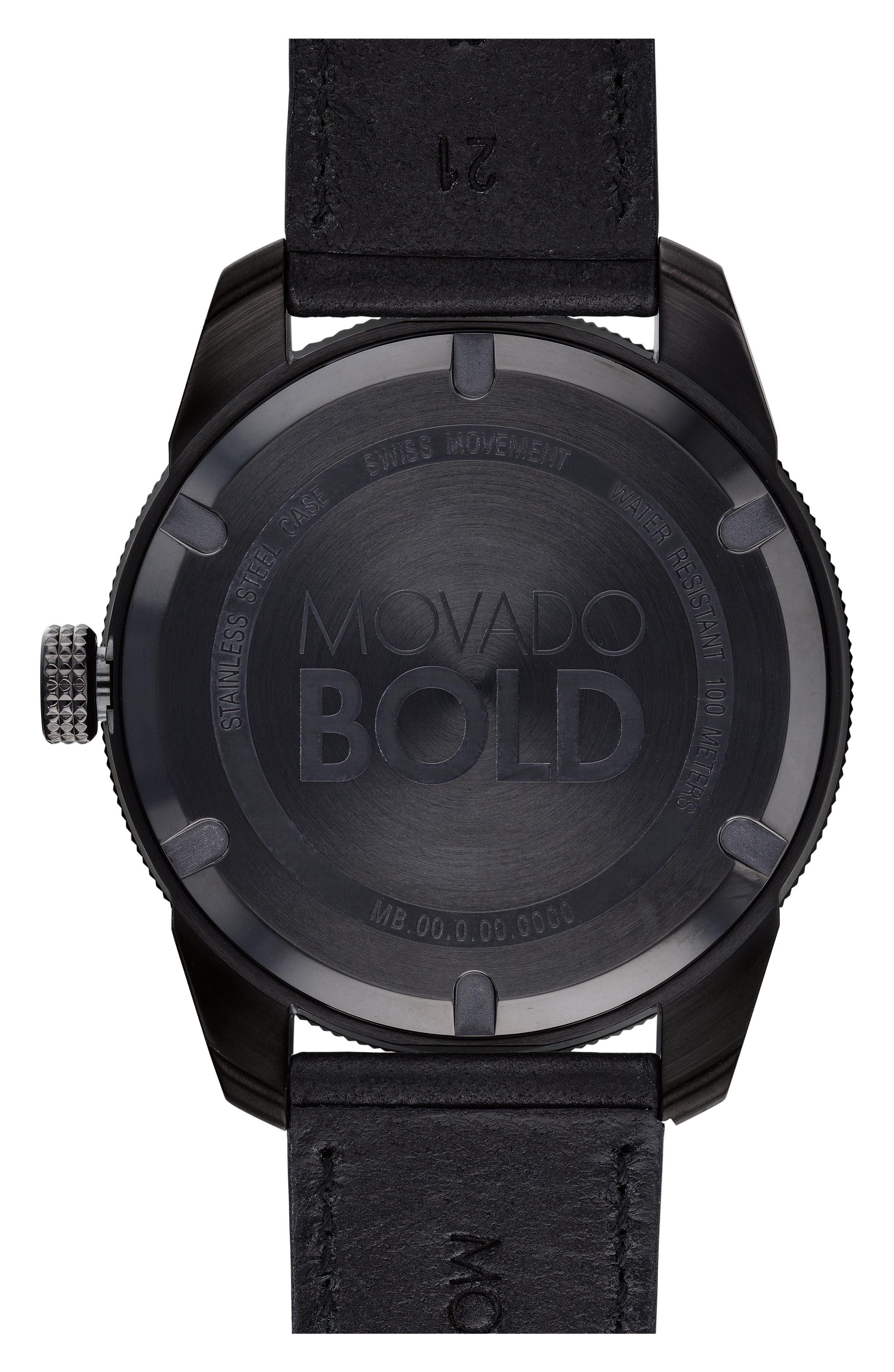 Bold Metals Sport Leather Strap Watch, 43mm,                             Alternate thumbnail 2, color,                             Black/ Blue/ Black