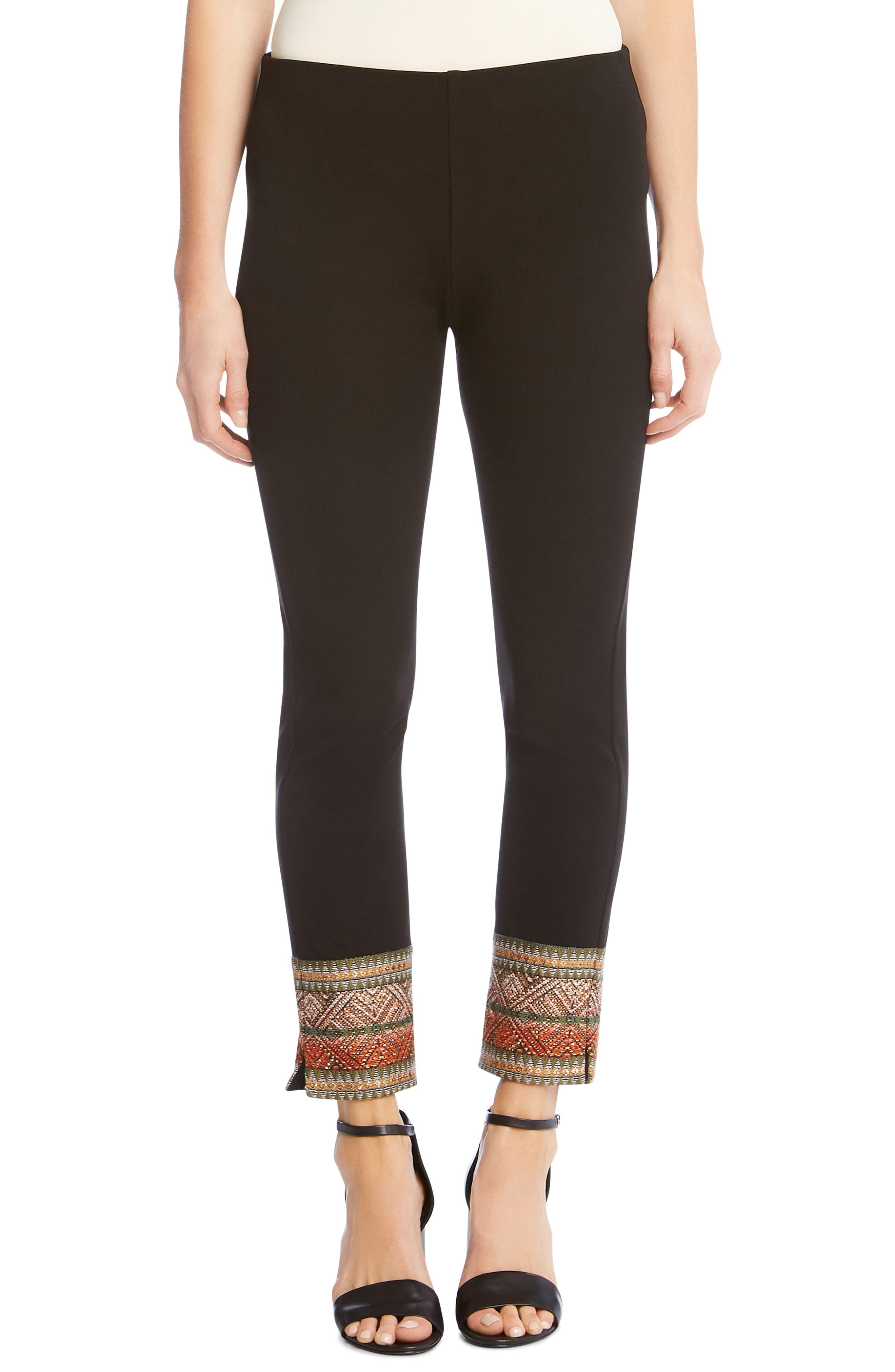 Piper Ribbon Border Ankle Pants,                         Main,                         color, Black