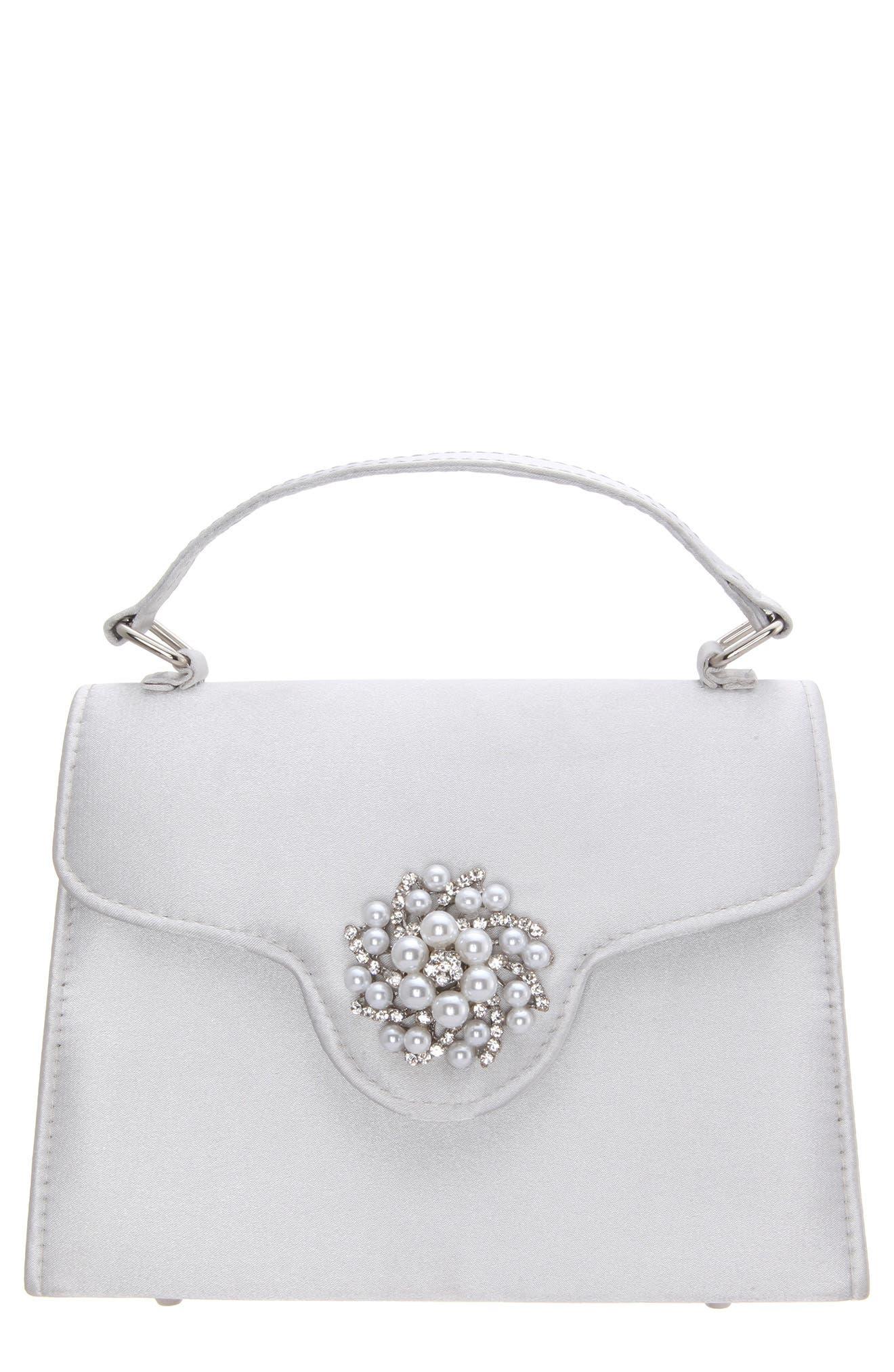 Imitation Pearl Ornament Lady Bag - Metallic, Silver