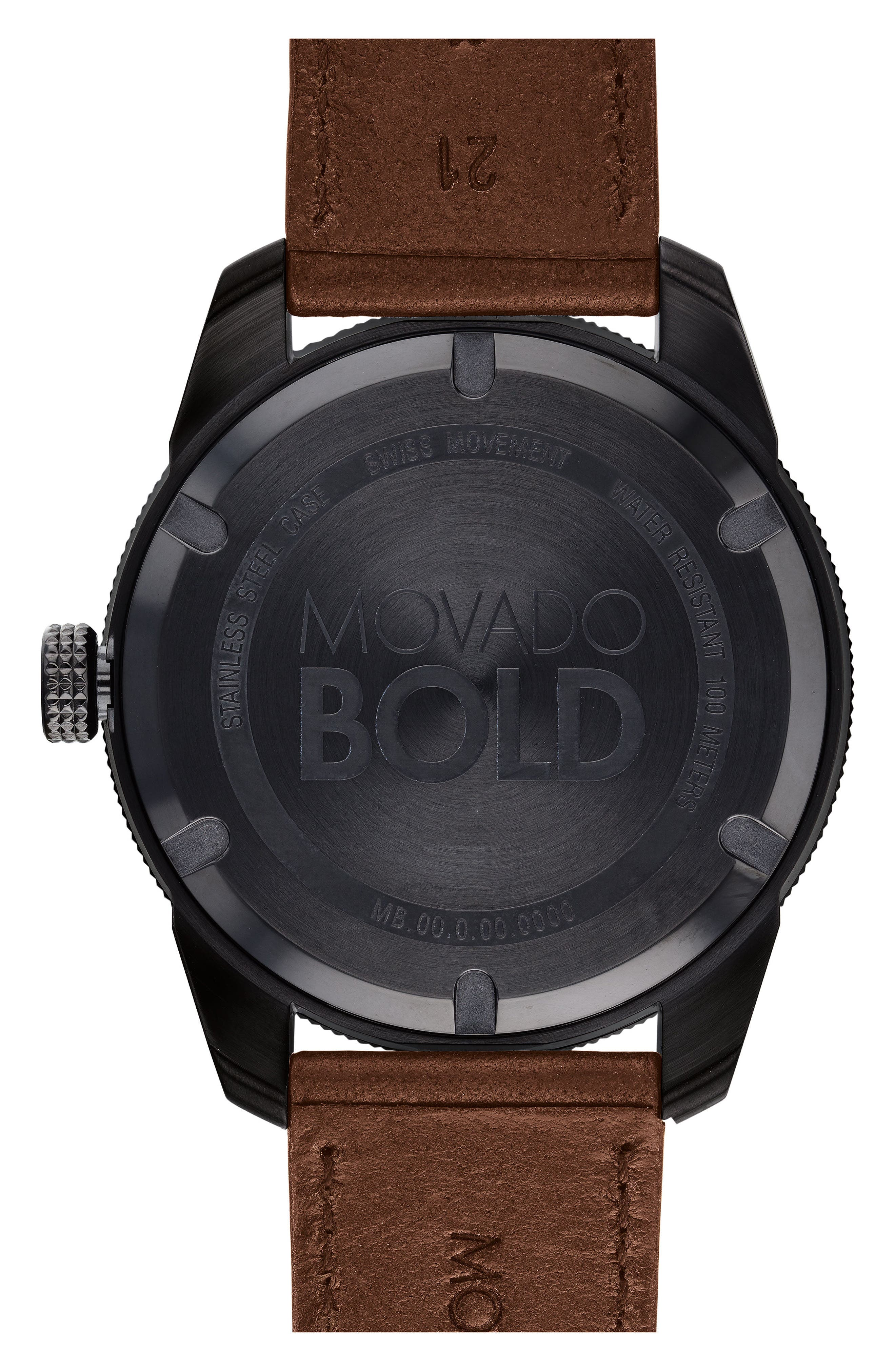 Bold Metals Sport Leather Strap Watch, 43mm,                             Alternate thumbnail 2, color,                             Brown/ Black/ Gold