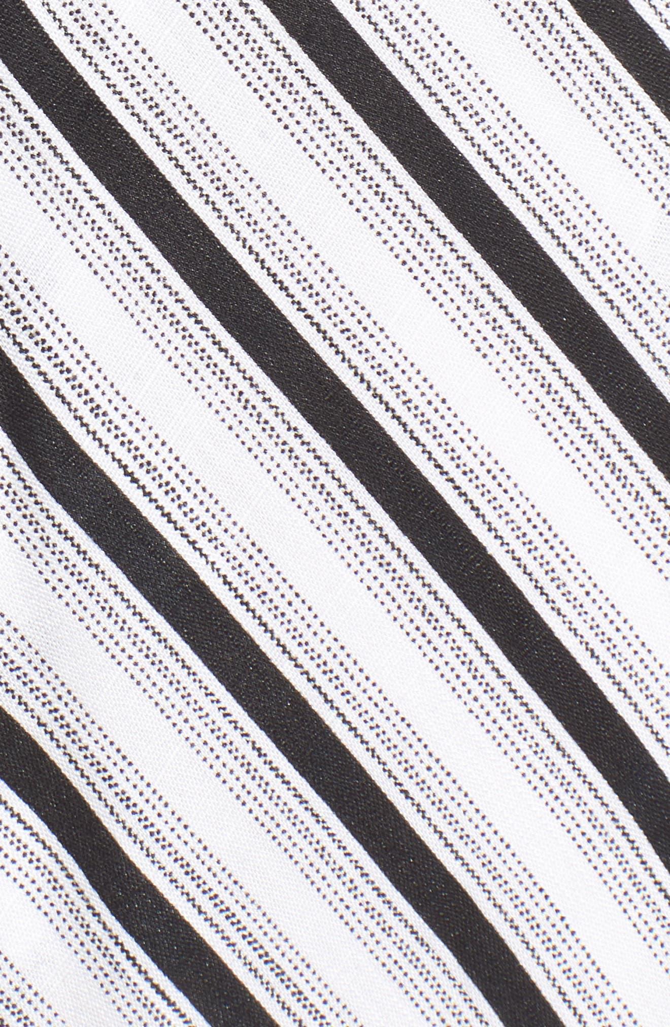 Stripe Gathered High/Low Dress,                             Alternate thumbnail 5, color,                             Black Stripe
