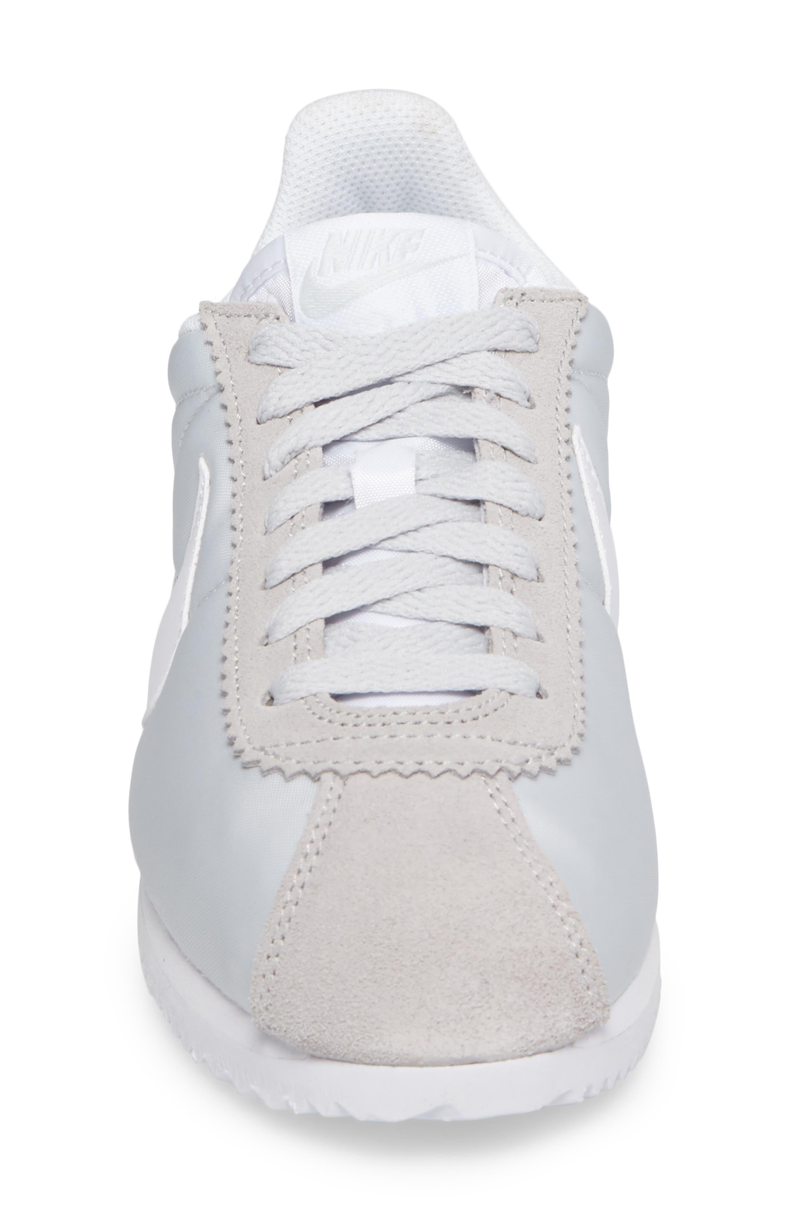 'Classic Cortez' Sneaker,                             Alternate thumbnail 4, color,                             Pure Platinum/ White