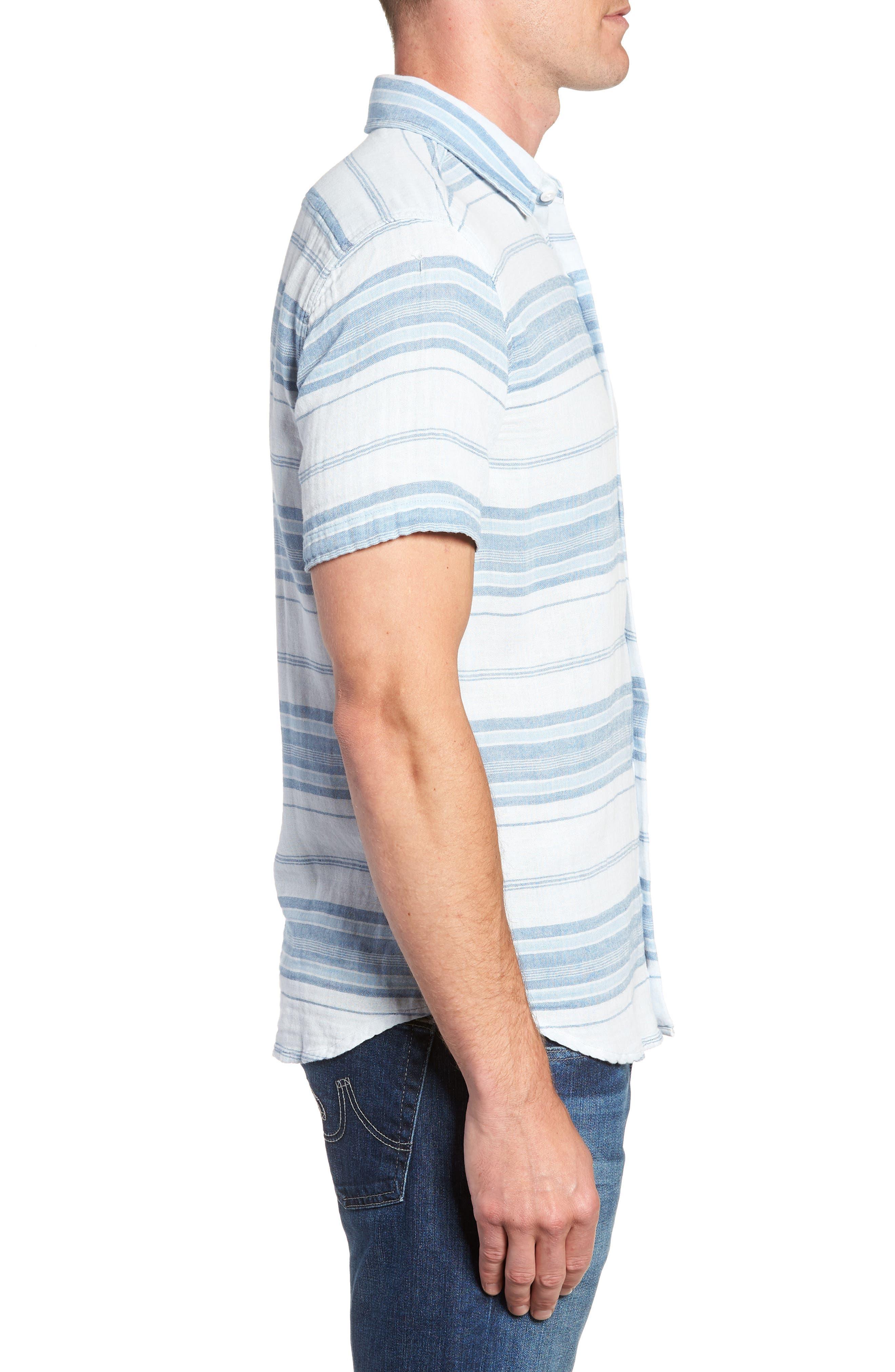 Ventura Double Cloth Short Sleeve Shirt,                             Alternate thumbnail 5, color,                             Light Indigo Serape
