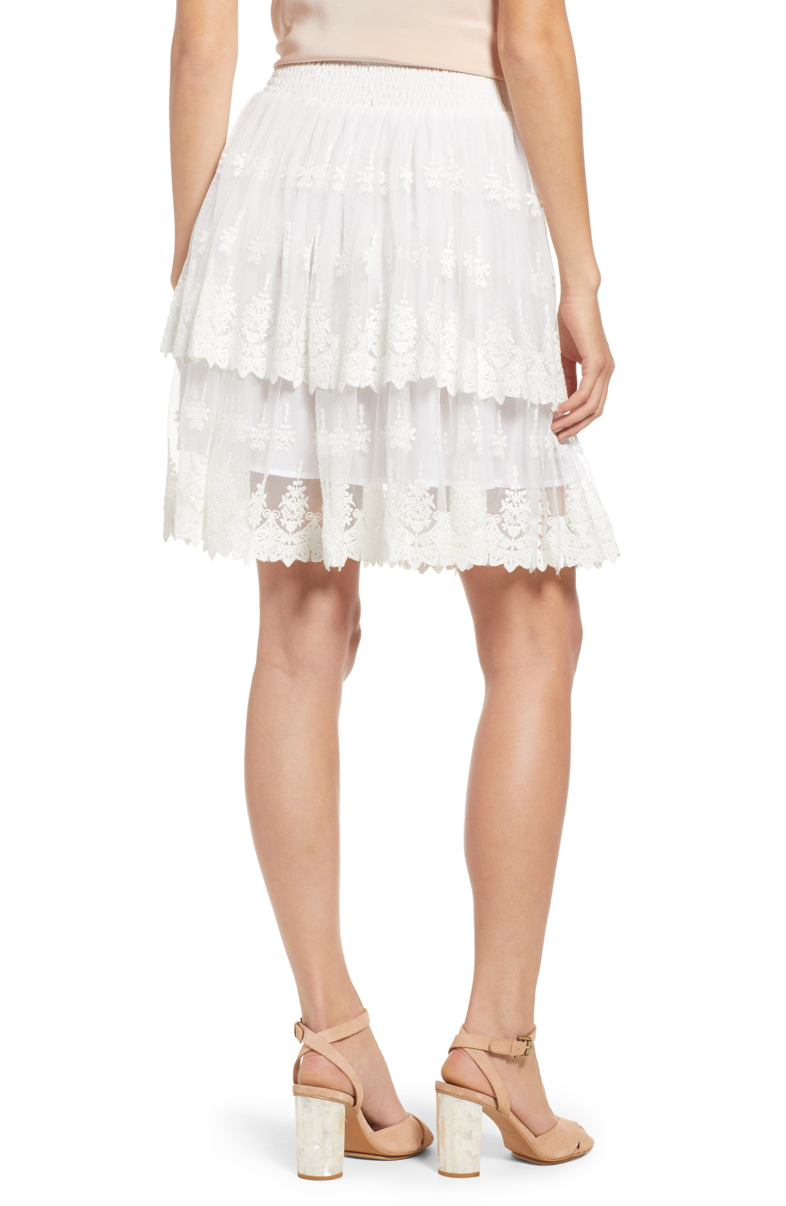 Francine Tiered Lace Skirt,                             Alternate thumbnail 2, color,                             White