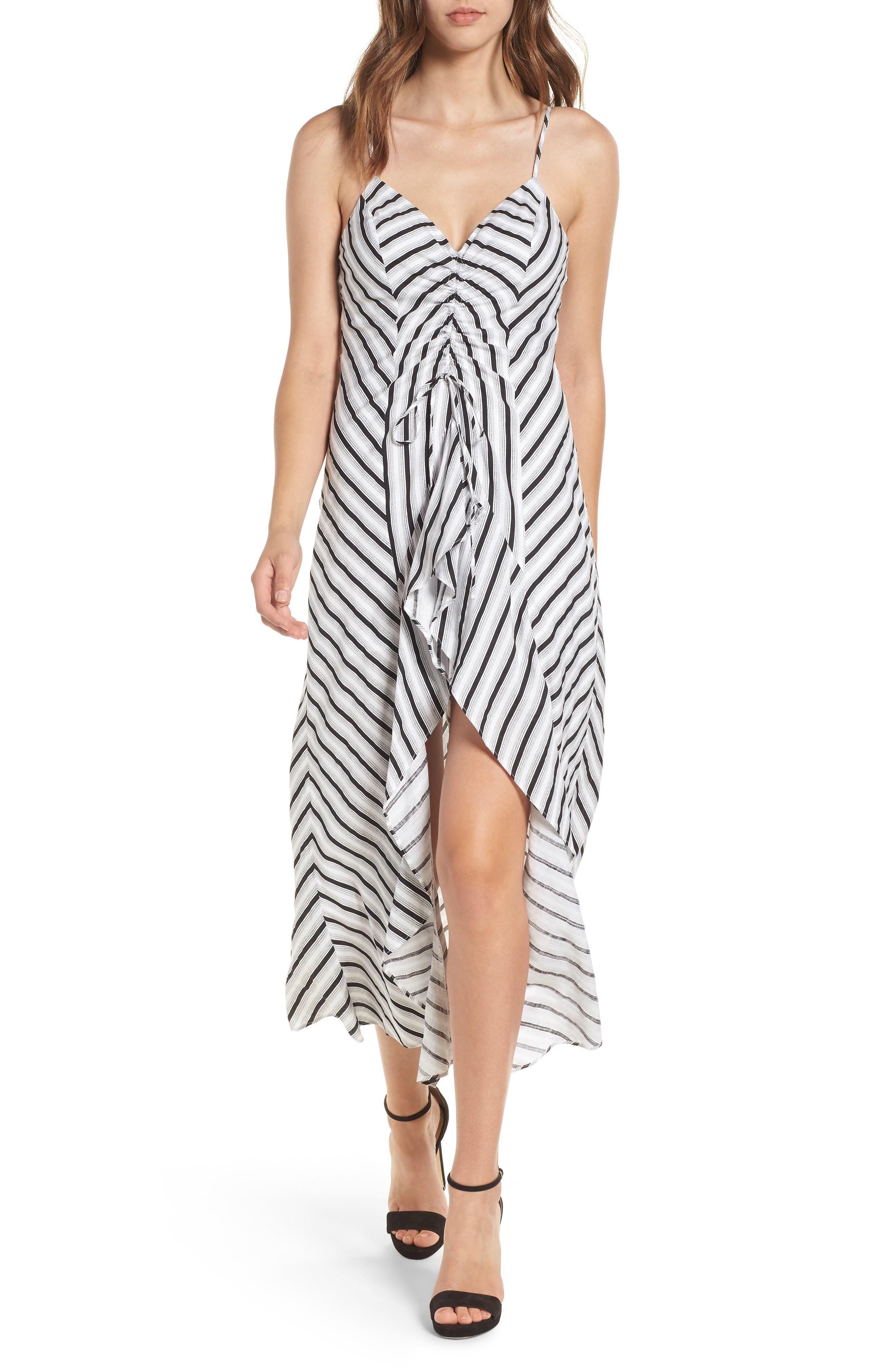 Stripe Gathered High/Low Dress,                             Main thumbnail 1, color,                             Black Stripe