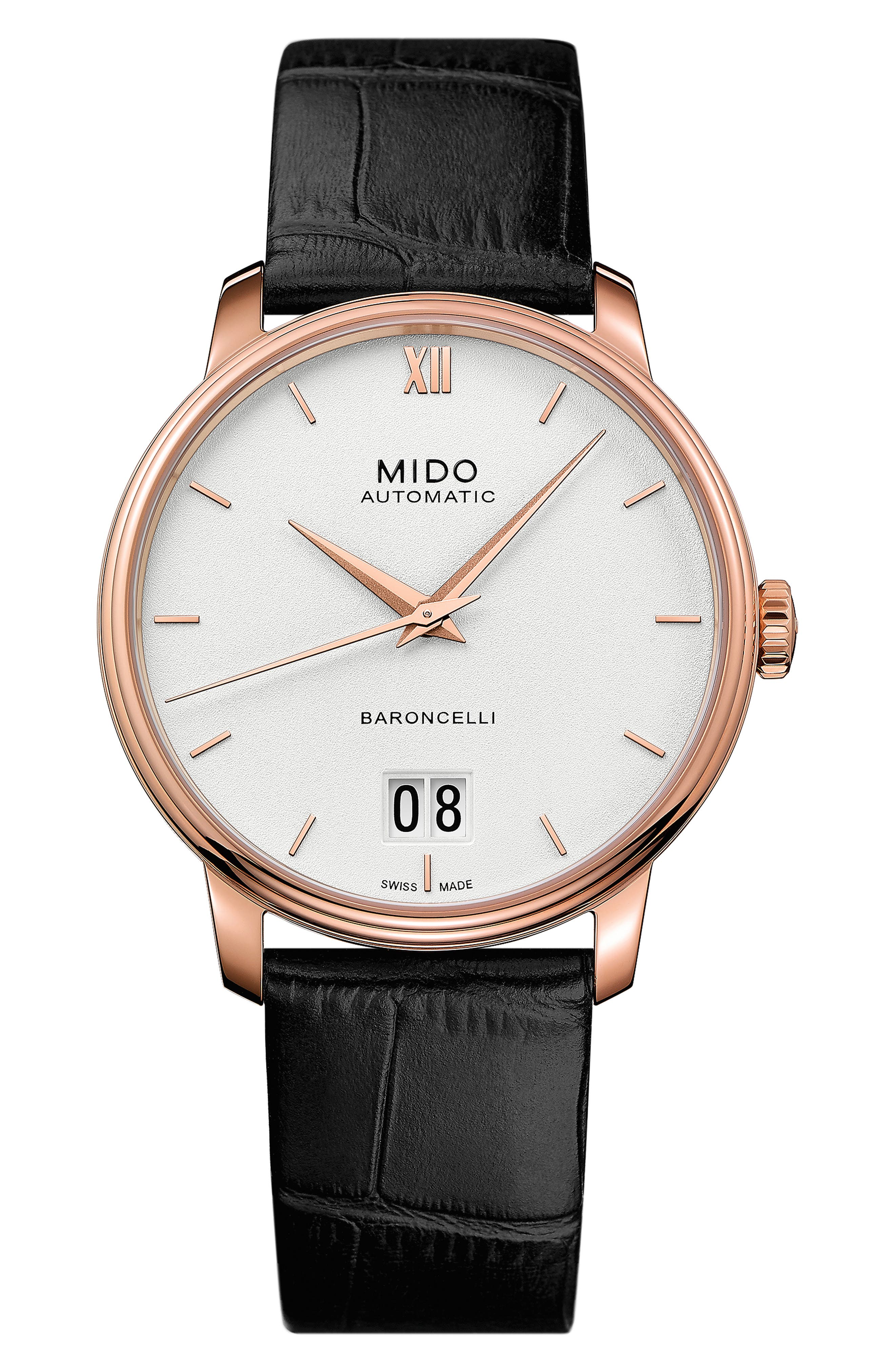 BARONCELLI III AUTOMATIC LEATHER STRAP WATCH, 40MM
