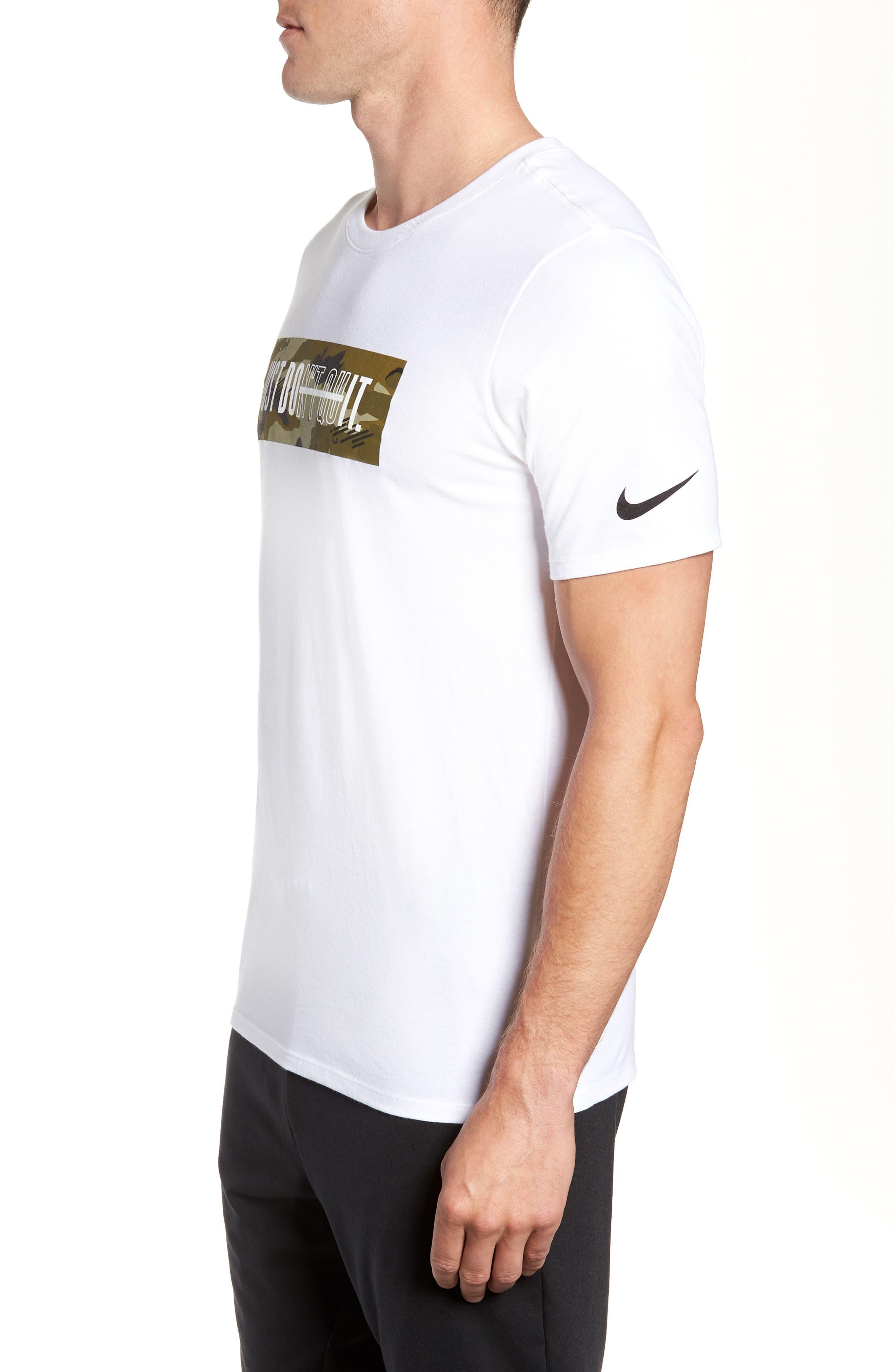 Dry Just Don't Quit T-Shirt,                             Alternate thumbnail 3, color,                             White/ Neutral Olive/ Black
