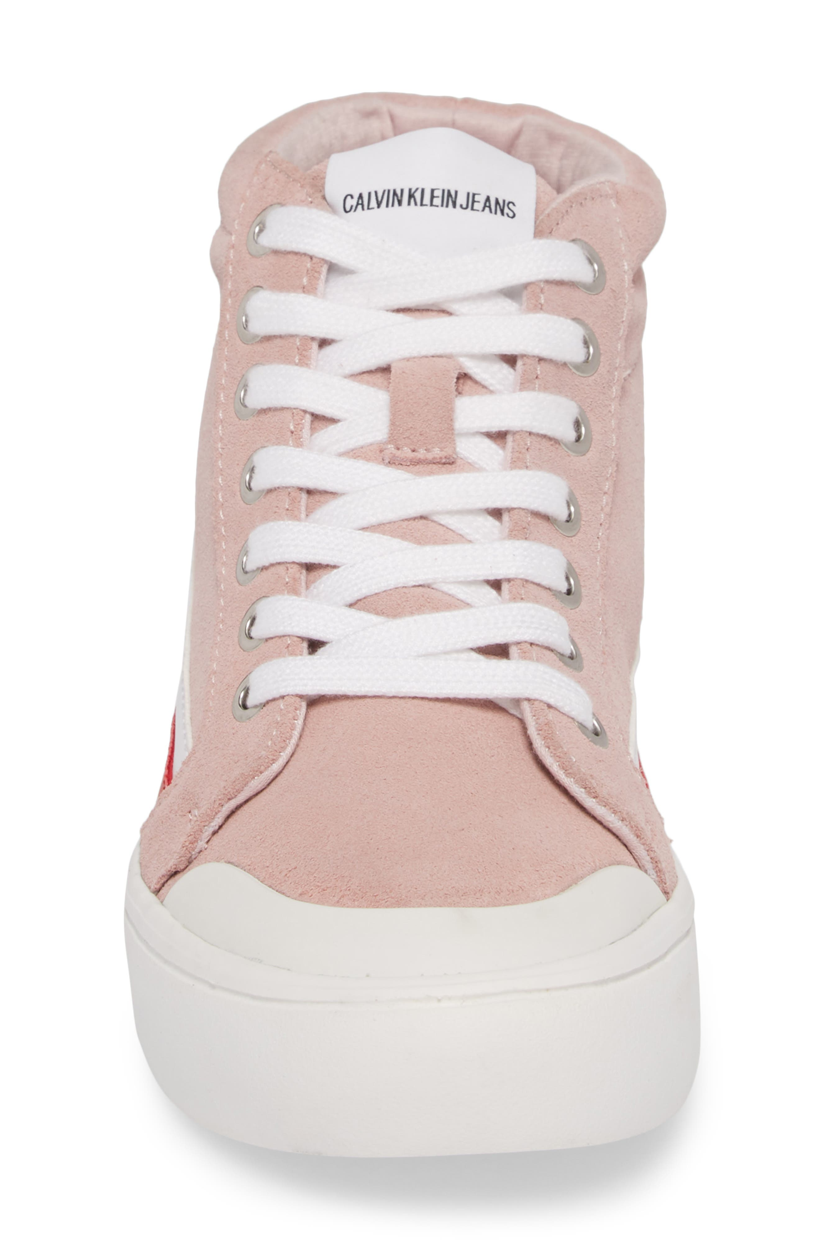 High Top Sneaker,                             Alternate thumbnail 5, color,                             Chintz Rose/ White/ Tomato