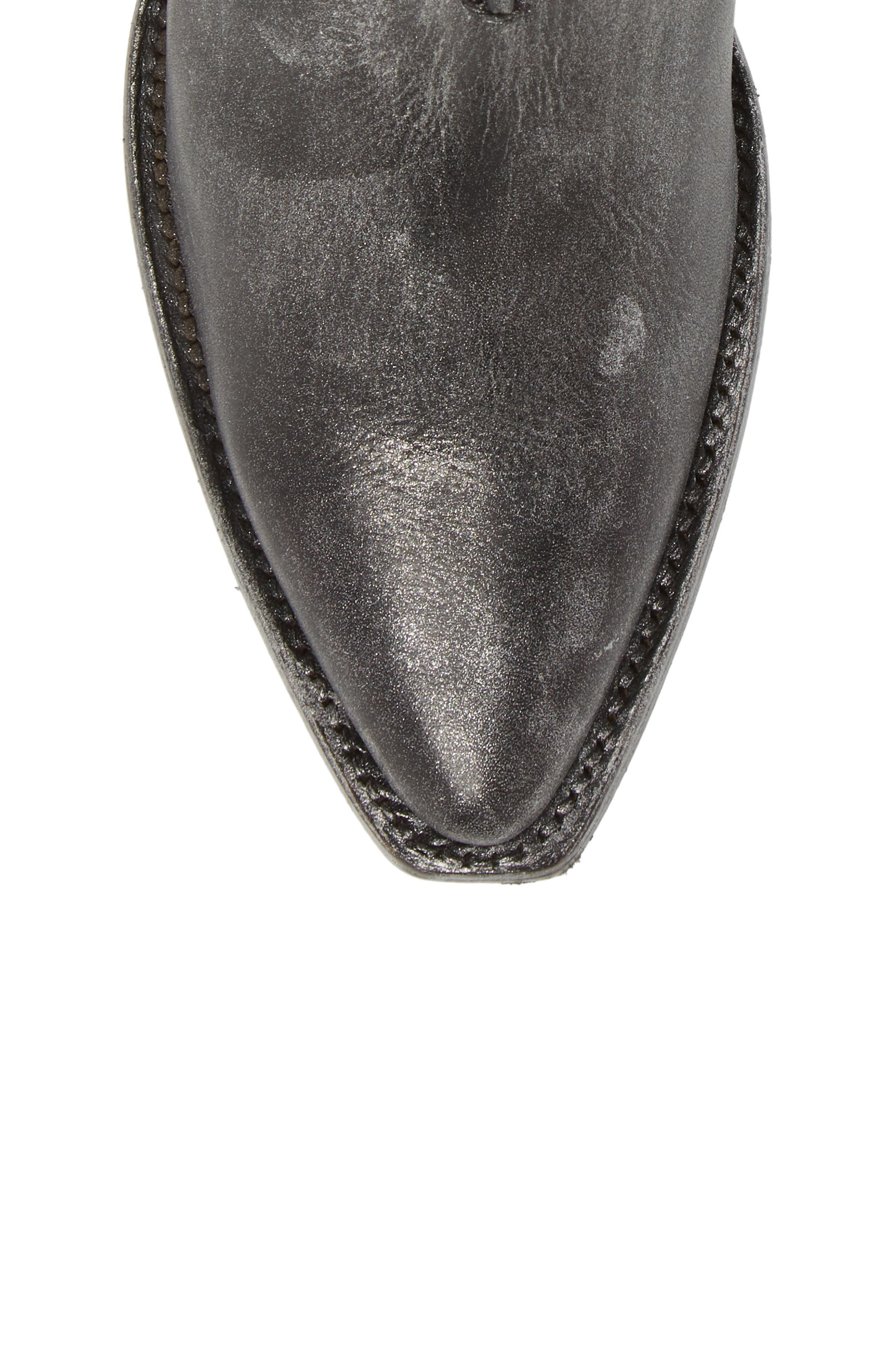 Sacha Moto Short Bootie,                             Alternate thumbnail 4, color,                             Black Metallic Leather