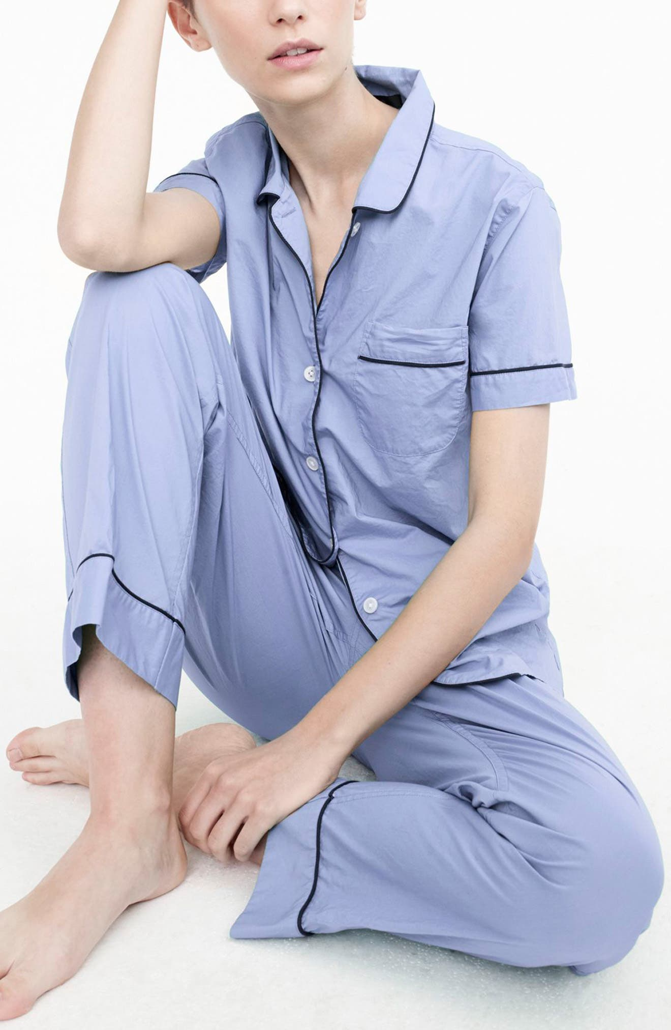Vintage Cotton Pajamas,                             Alternate thumbnail 3, color,                             Hydrangea