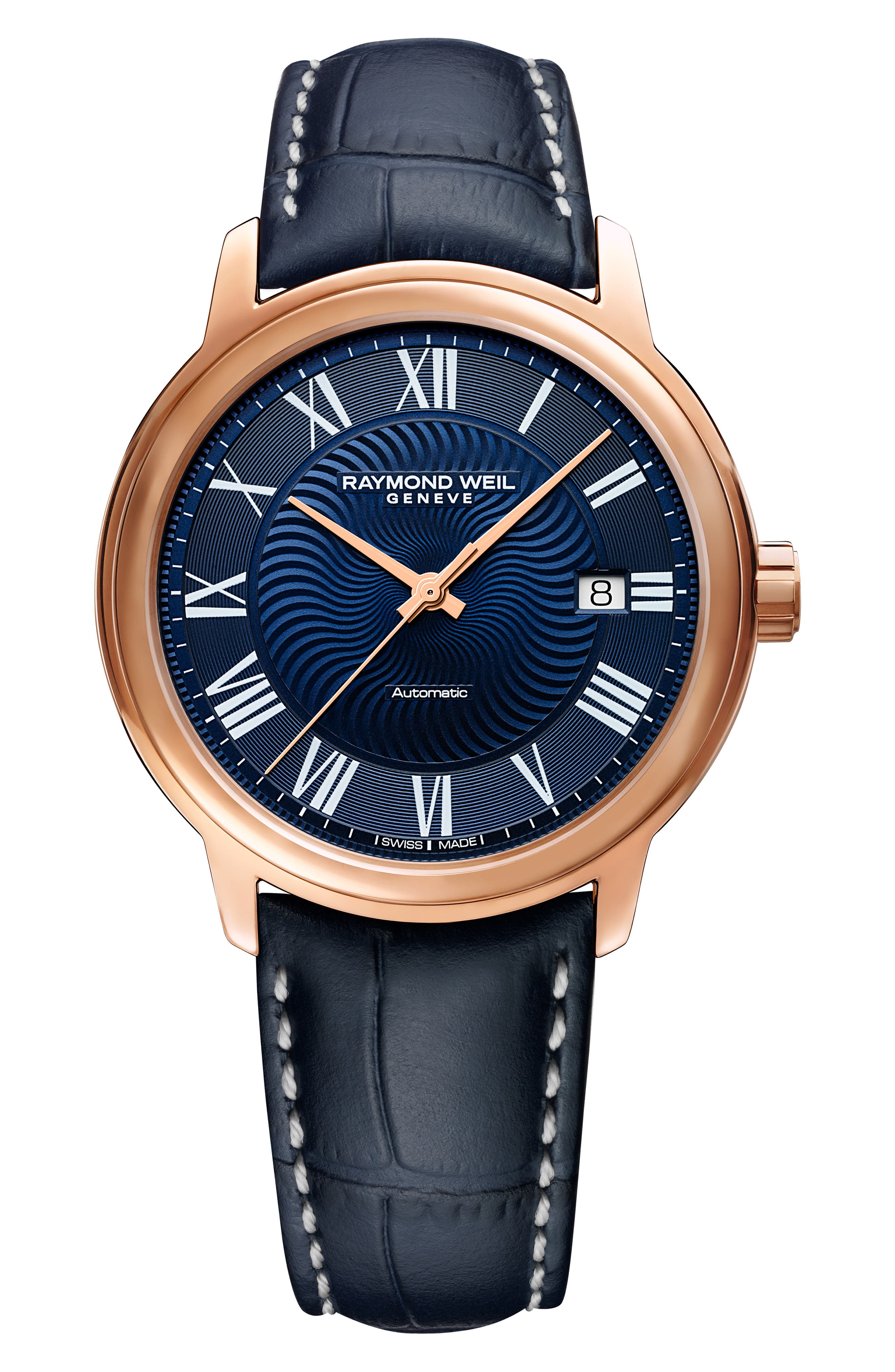 RAYMOND WEIL MAESTRO AUTOMATIC LEATHER STRAP WATCH, 40MM