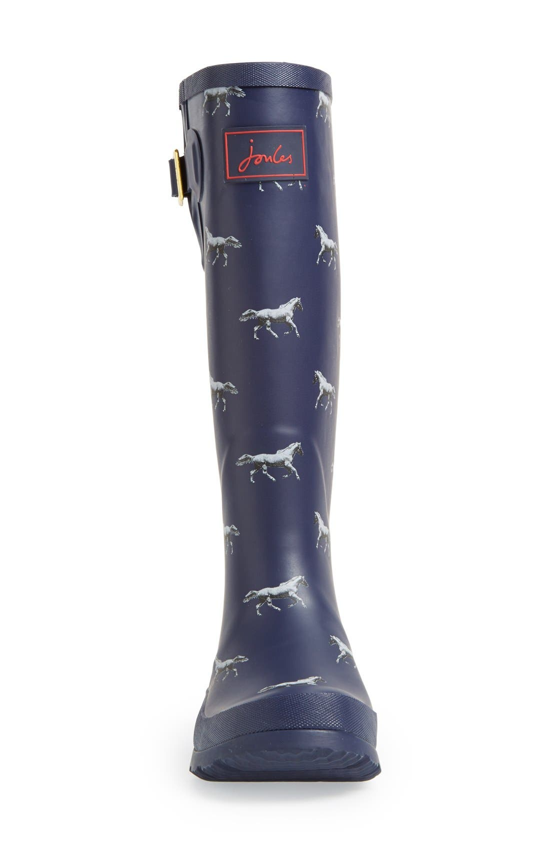 Print Welly Rain Boot,                             Alternate thumbnail 4, color,                             Navy Horse