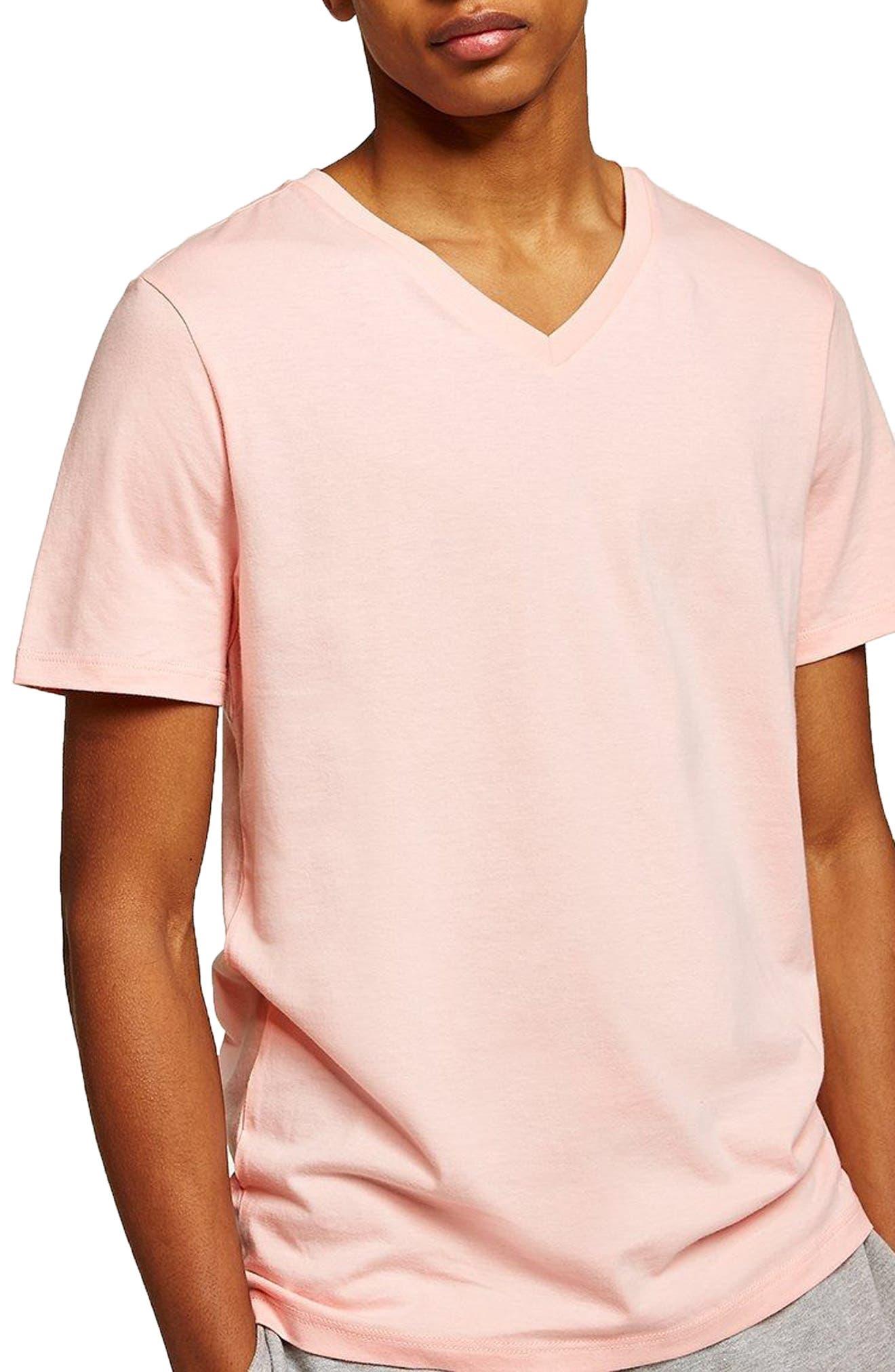 V-Neck T-Shirt,                         Main,                         color, Salmon