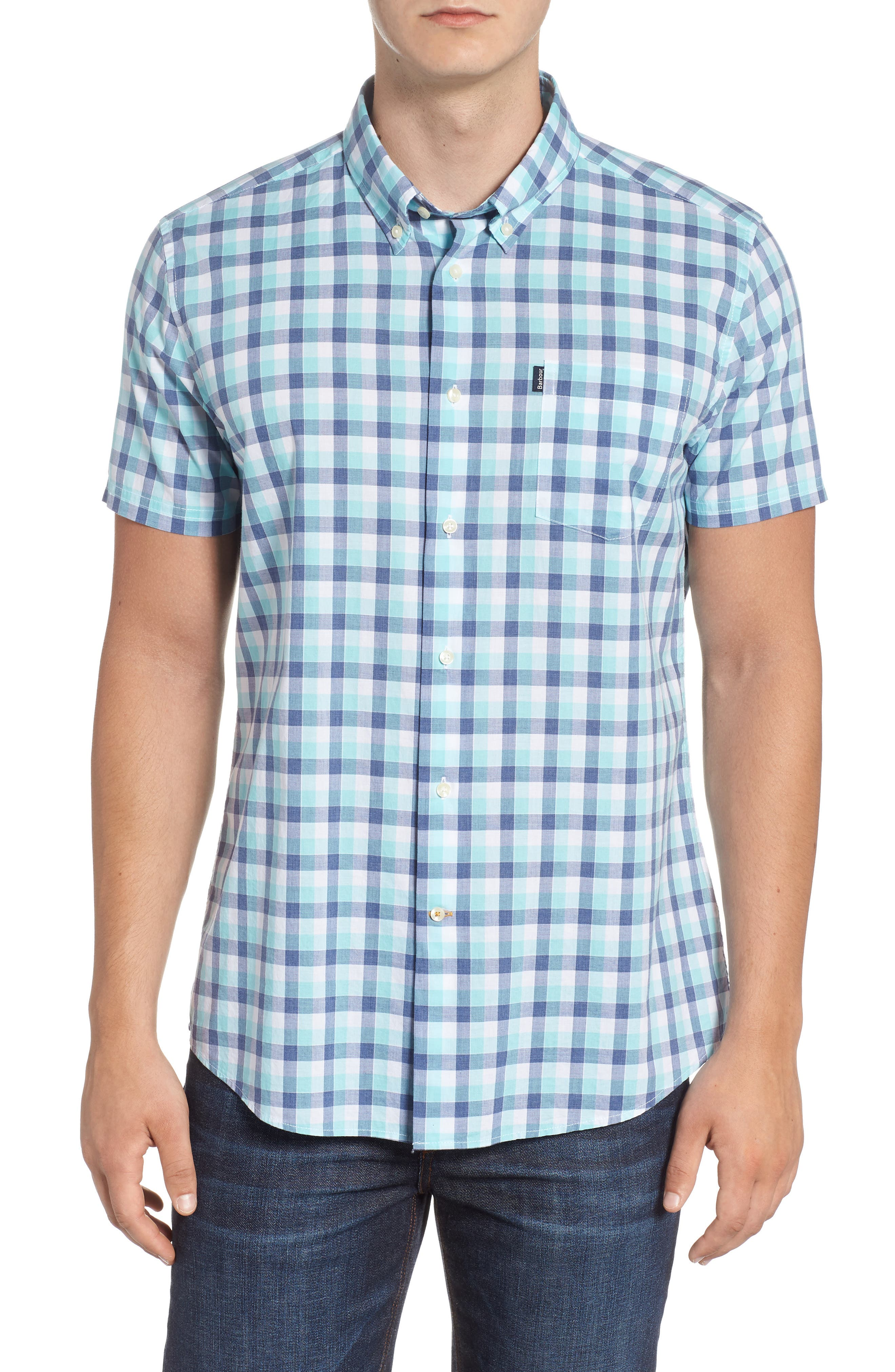 Barge Tailored Fit Short Sleeve Sport Short,                         Main,                         color, Aqua