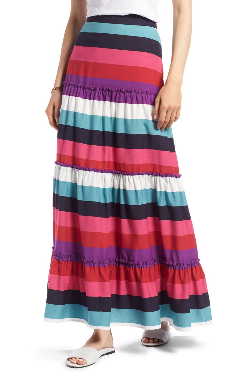 Tiered Stripe Maxi Skirt