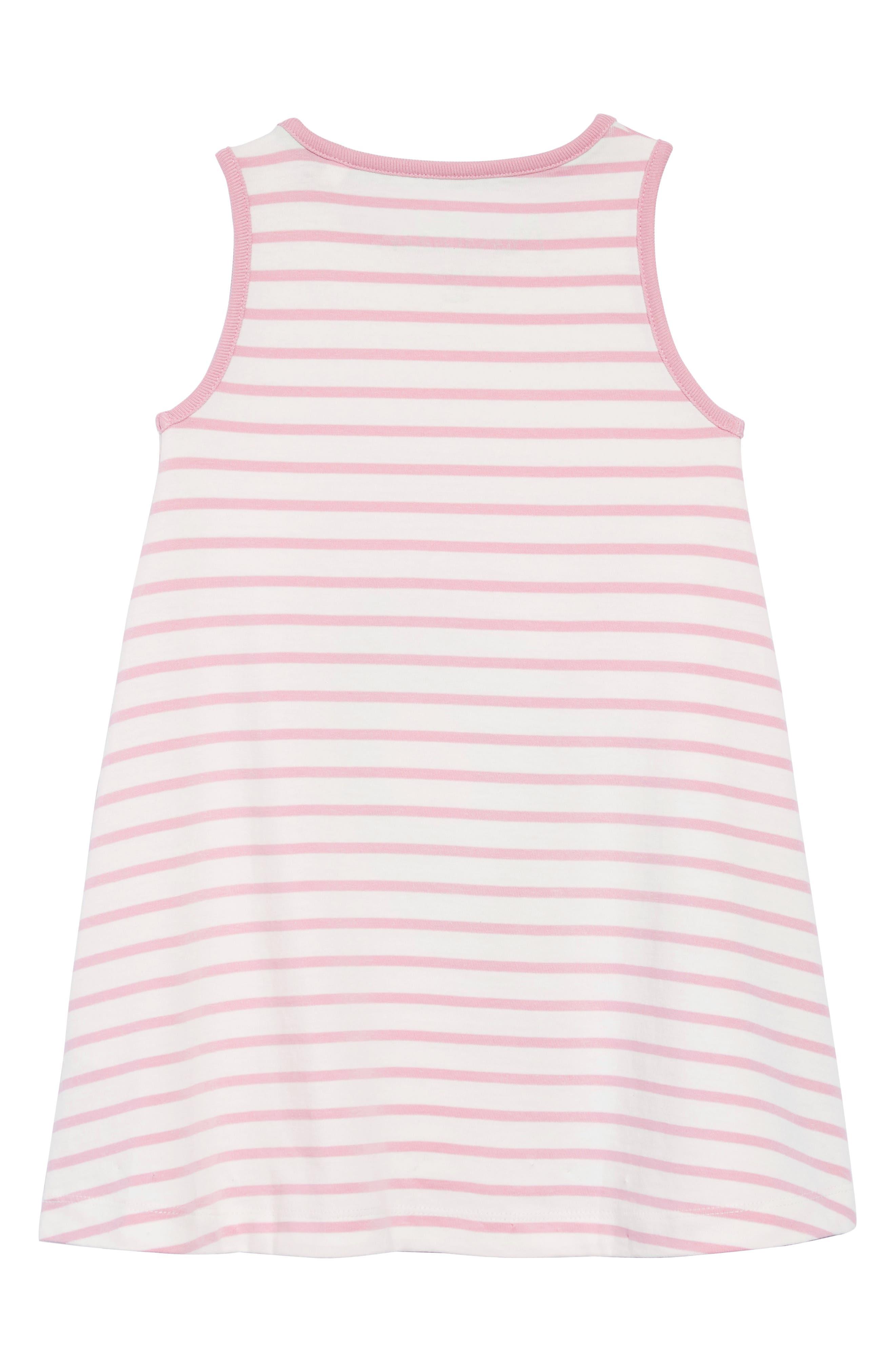 Vacation Appliqué Dress,                             Alternate thumbnail 2, color,                             Ivory/ Rosebud Stripe