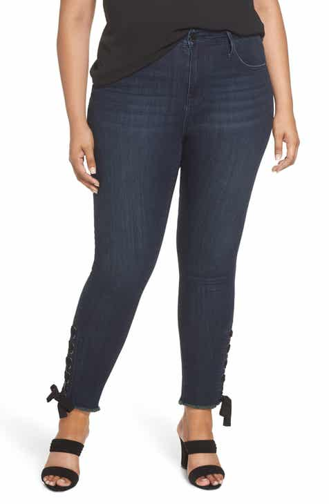 85f96acb81bba Seven7 High Rise Lace-Up Side Hem Skinny Jeans (Signal) (Plus Size)