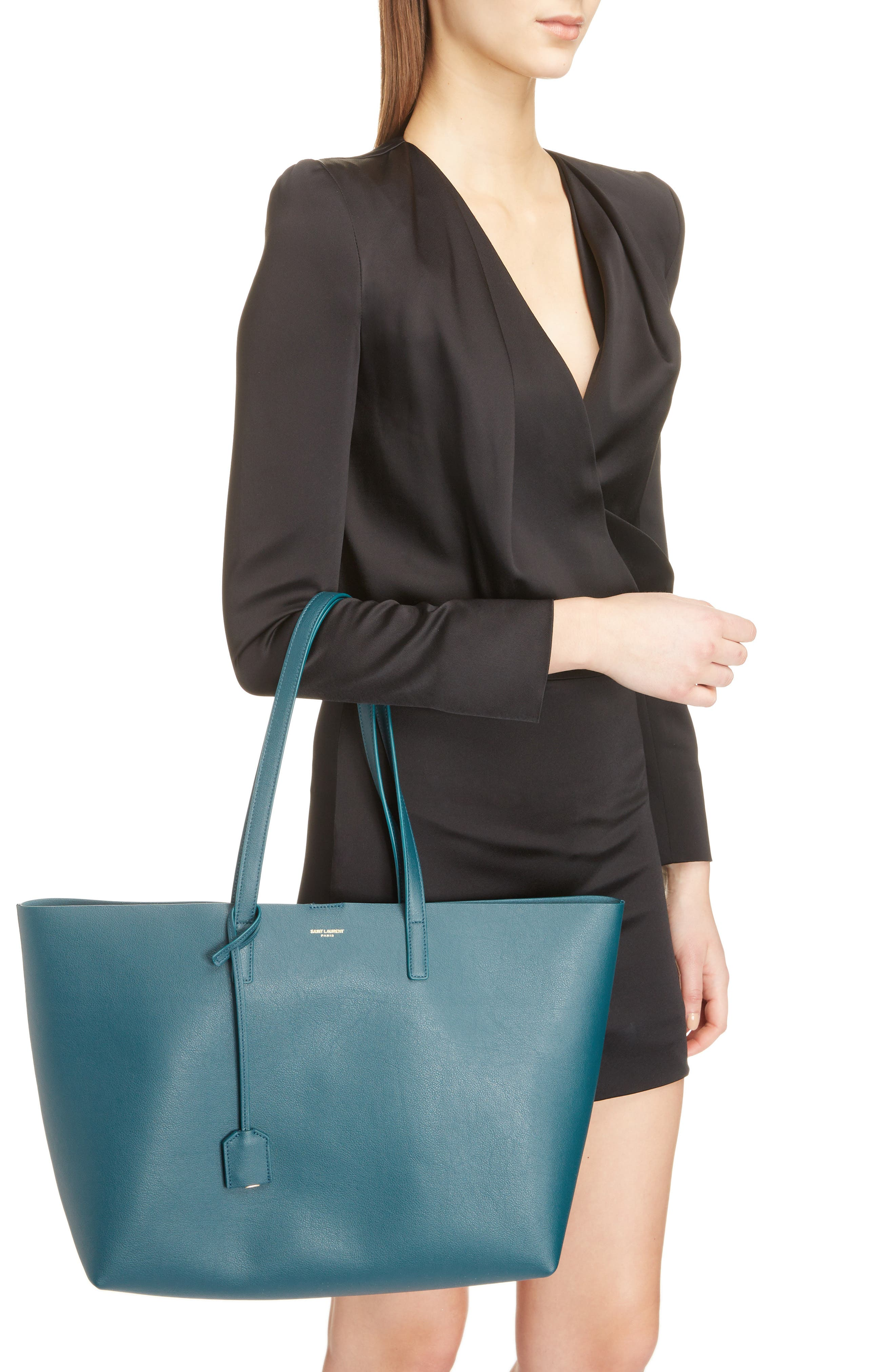 'Shopping' Leather Tote,                             Alternate thumbnail 2, color,                             Dark Turquoise