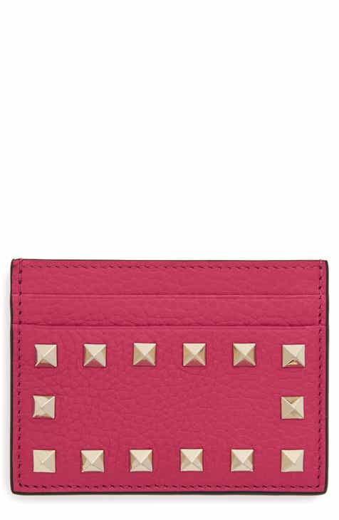 valentino garavani rockstud calfskin leather card holder - Pink Card Holder