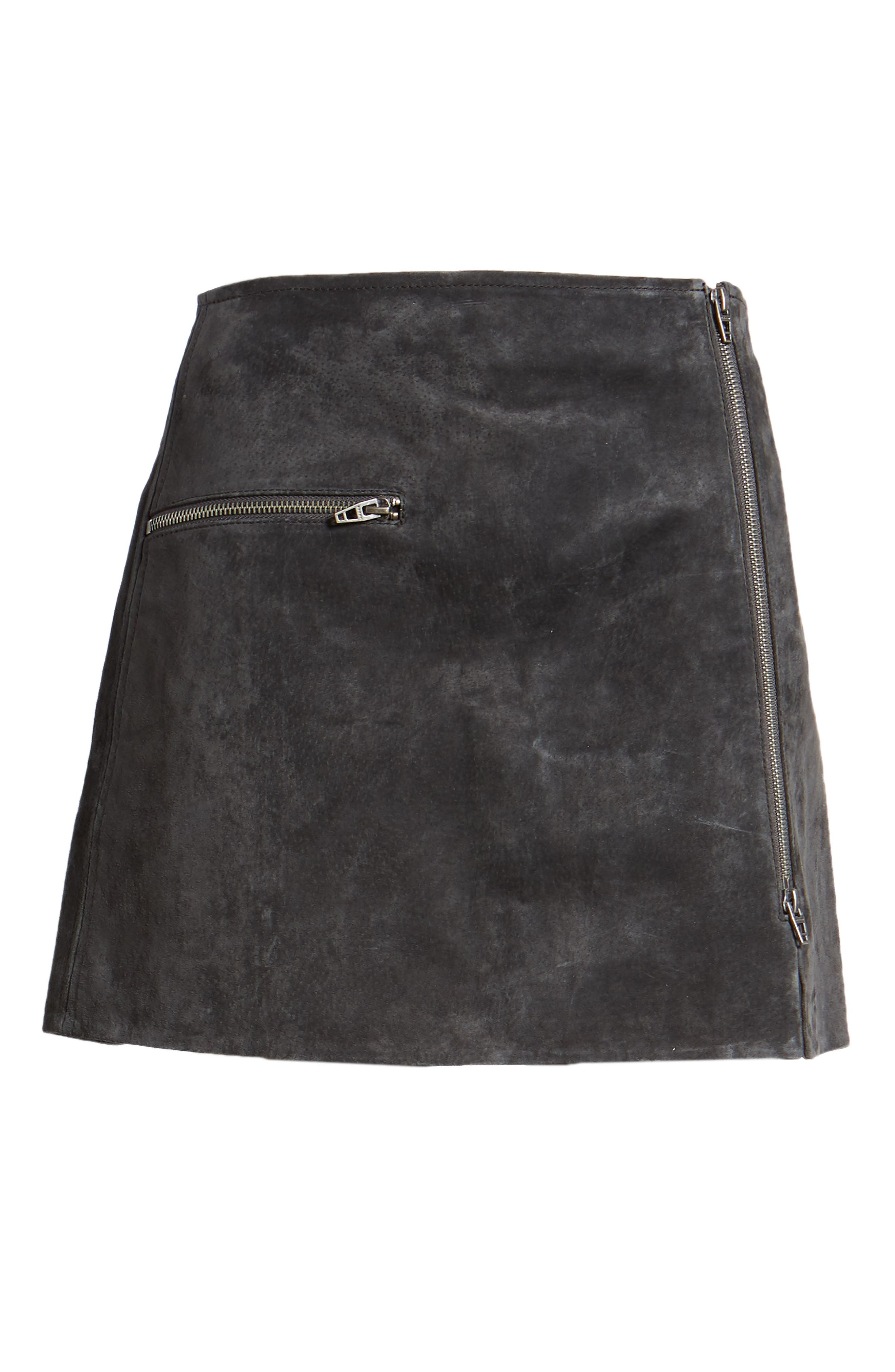 Suede Miniskirt,                             Alternate thumbnail 6, color,                             Dark And Stormy