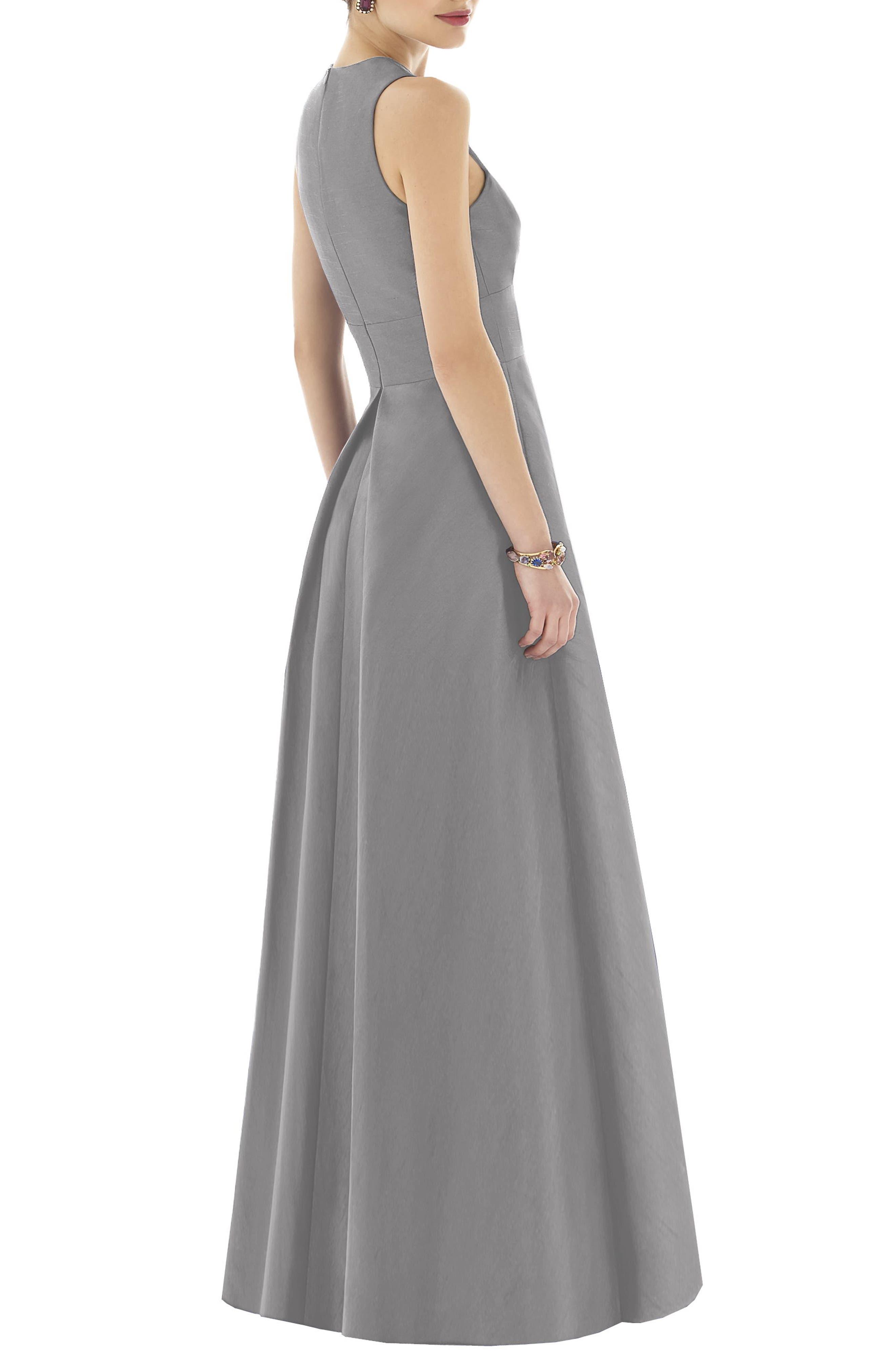 Dupioni A-Line Gown,                             Alternate thumbnail 2, color,                             Quarry