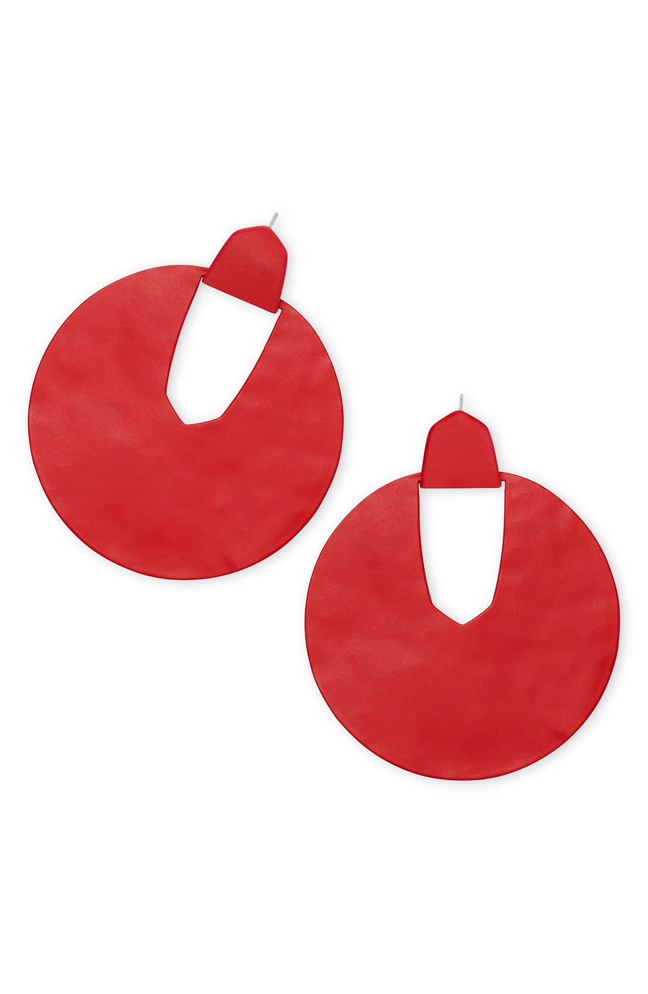 Diane Drop Earrings,                             Main thumbnail 1, color,                             Matte Bright Red
