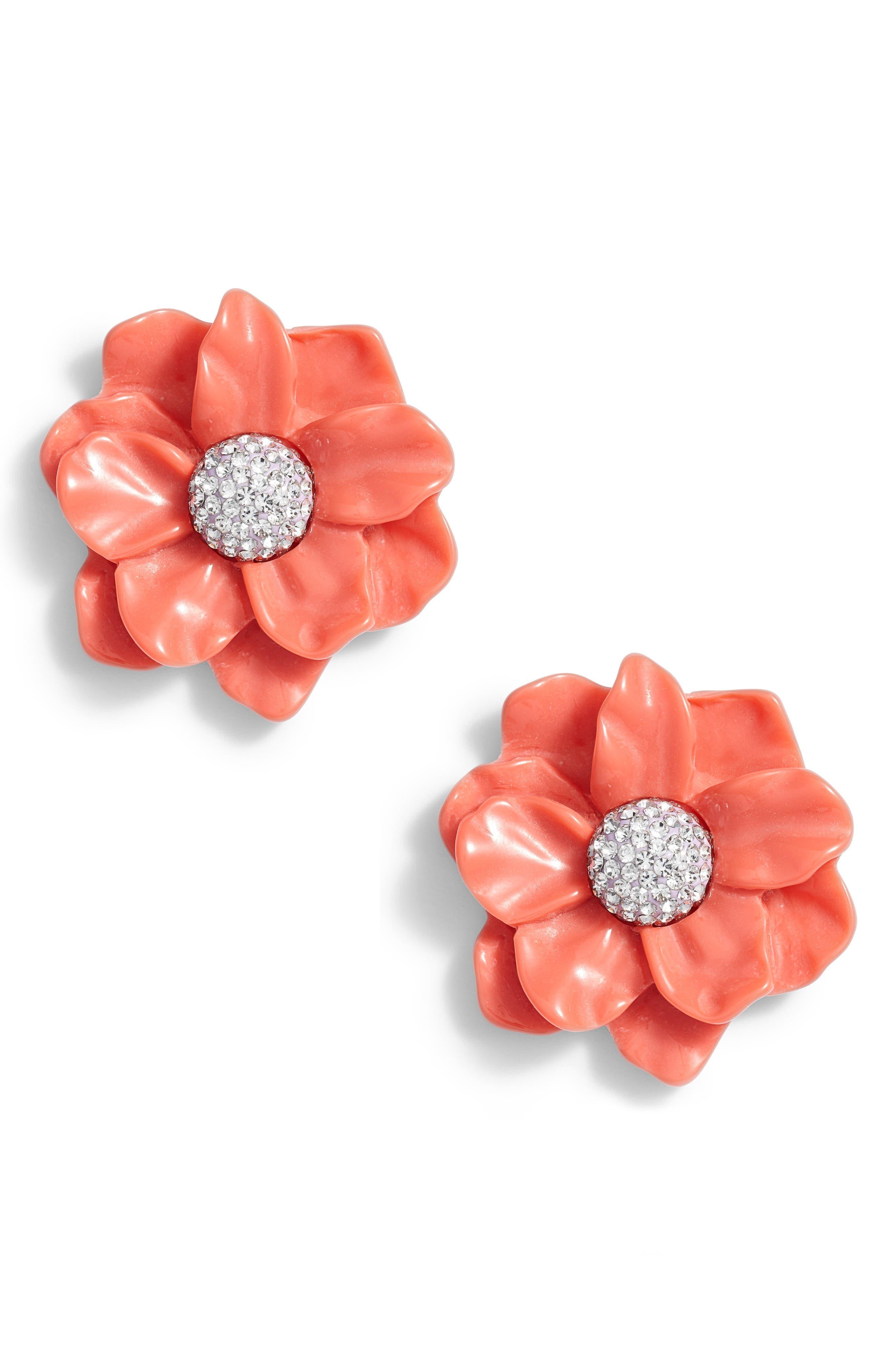 Oversized Gardenia Stud Earrings,                             Main thumbnail 1, color,                             Poppy Pink