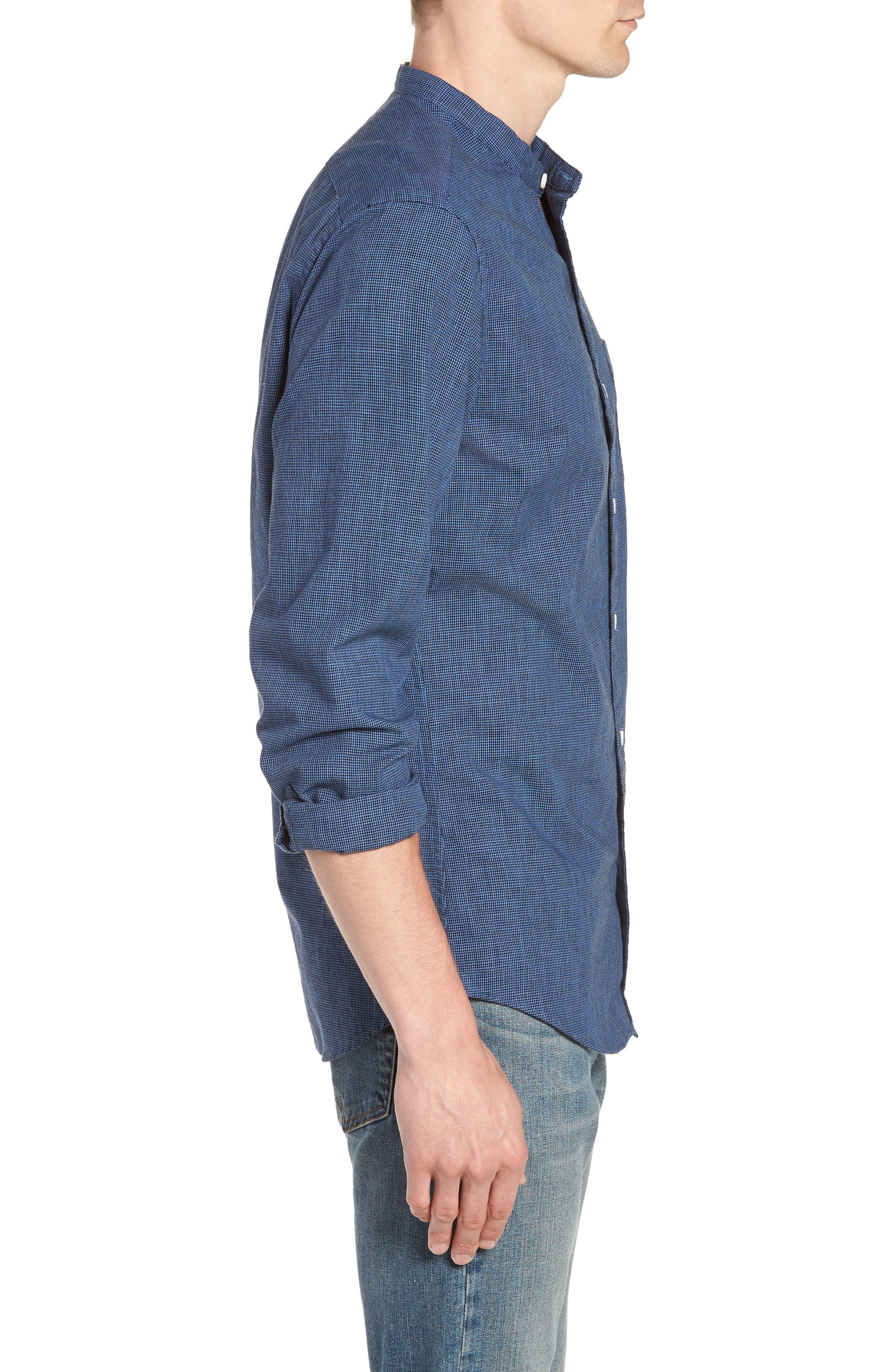 Slim Fit Band Collar Shirt,                             Alternate thumbnail 5, color,                             Dark Evening