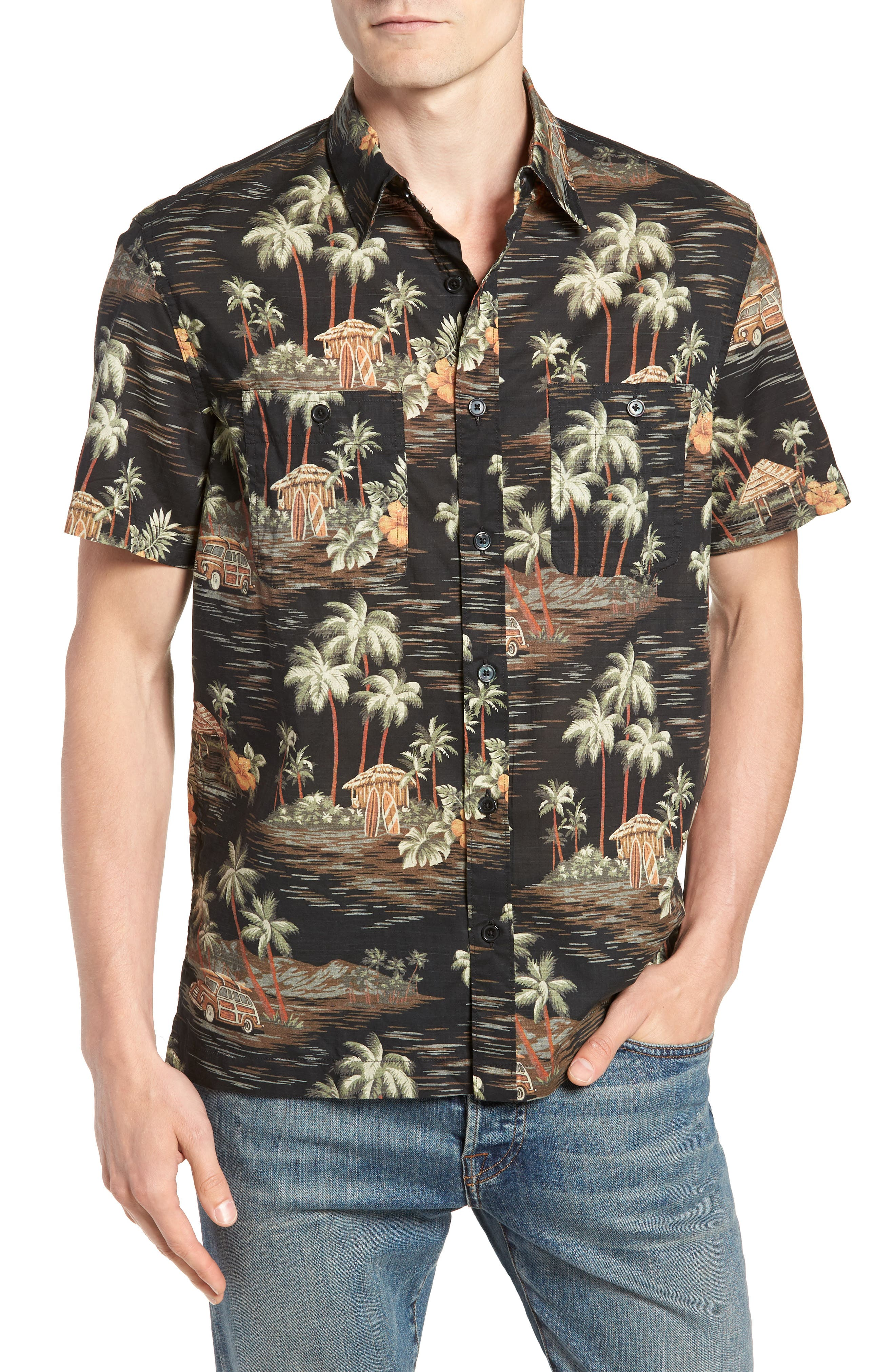 Wallace & Barnes Regular Fit Tropical Print Sport Shirt,                         Main,                         color, Black Multi
