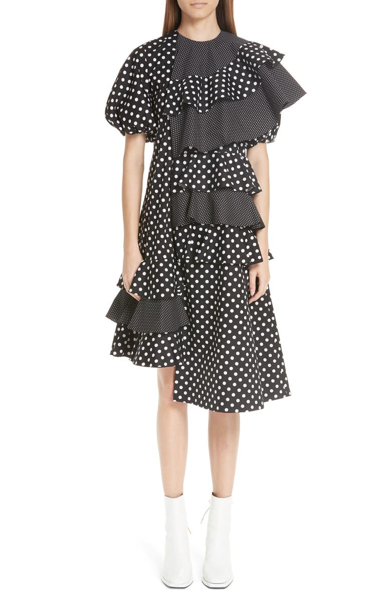 Puff Sleeve Asymmetrical Frill Dress