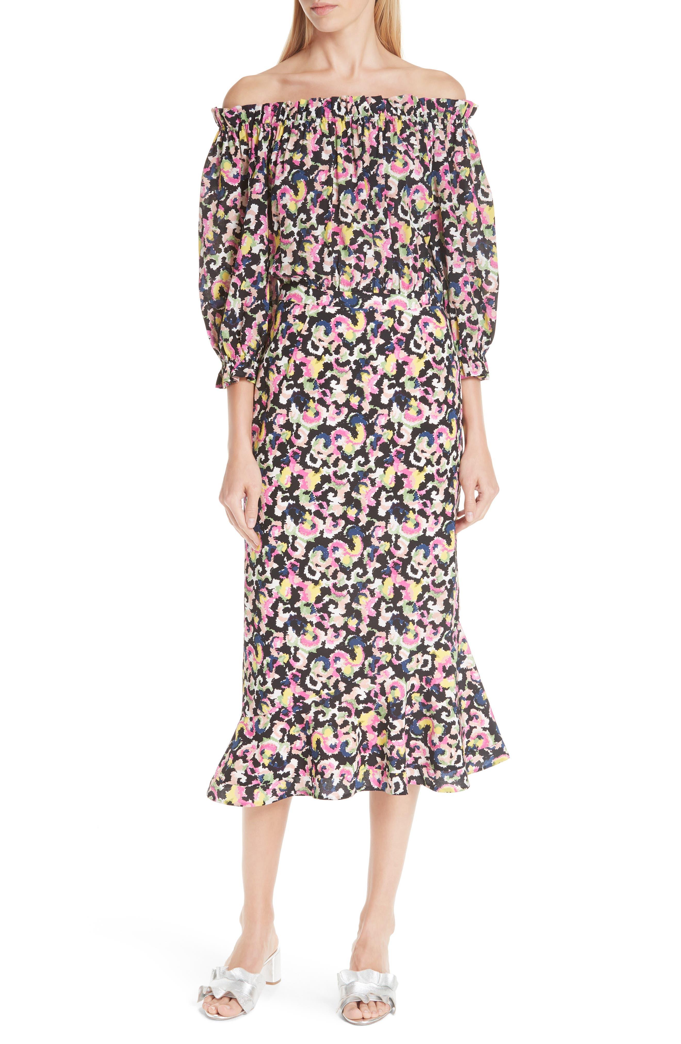 Grace Print Silk Off the Shoulder Dress,                             Main thumbnail 1, color,                             Hothouse Mirage