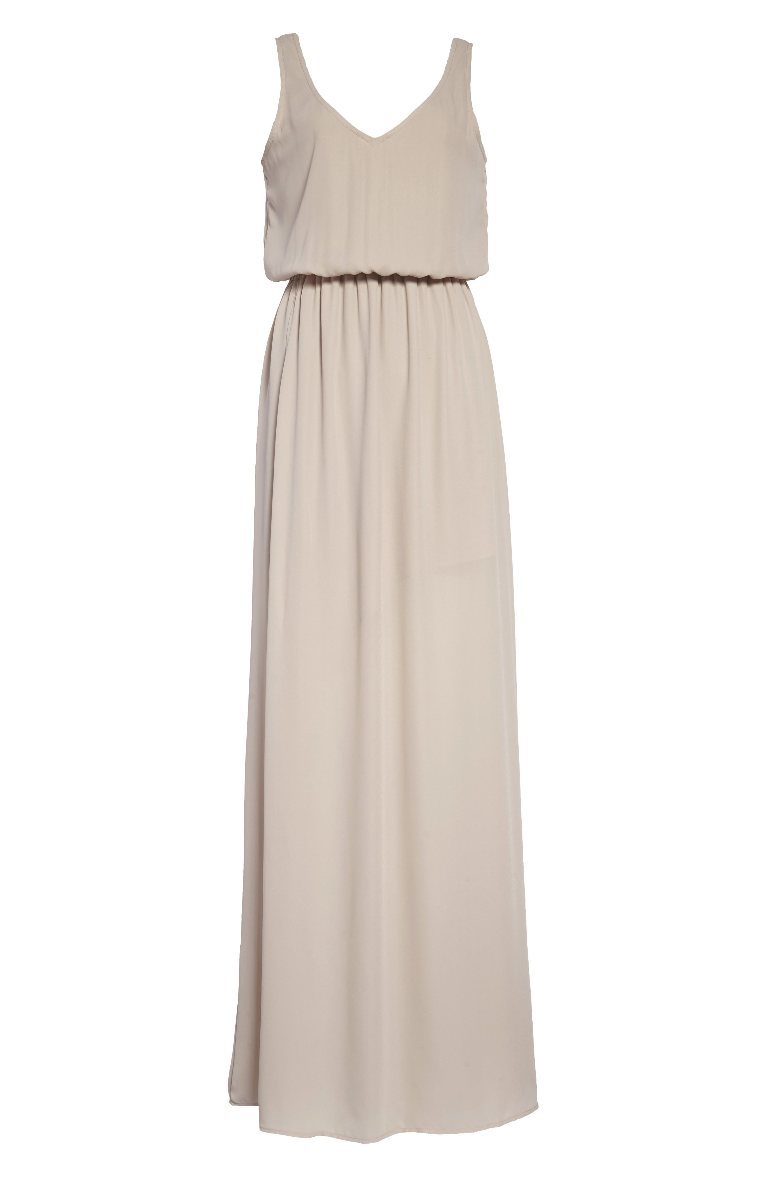 Kendall Soft V-Back A-Line Gown,                             Main thumbnail 1, color,                             Show Me The Ring Crisp