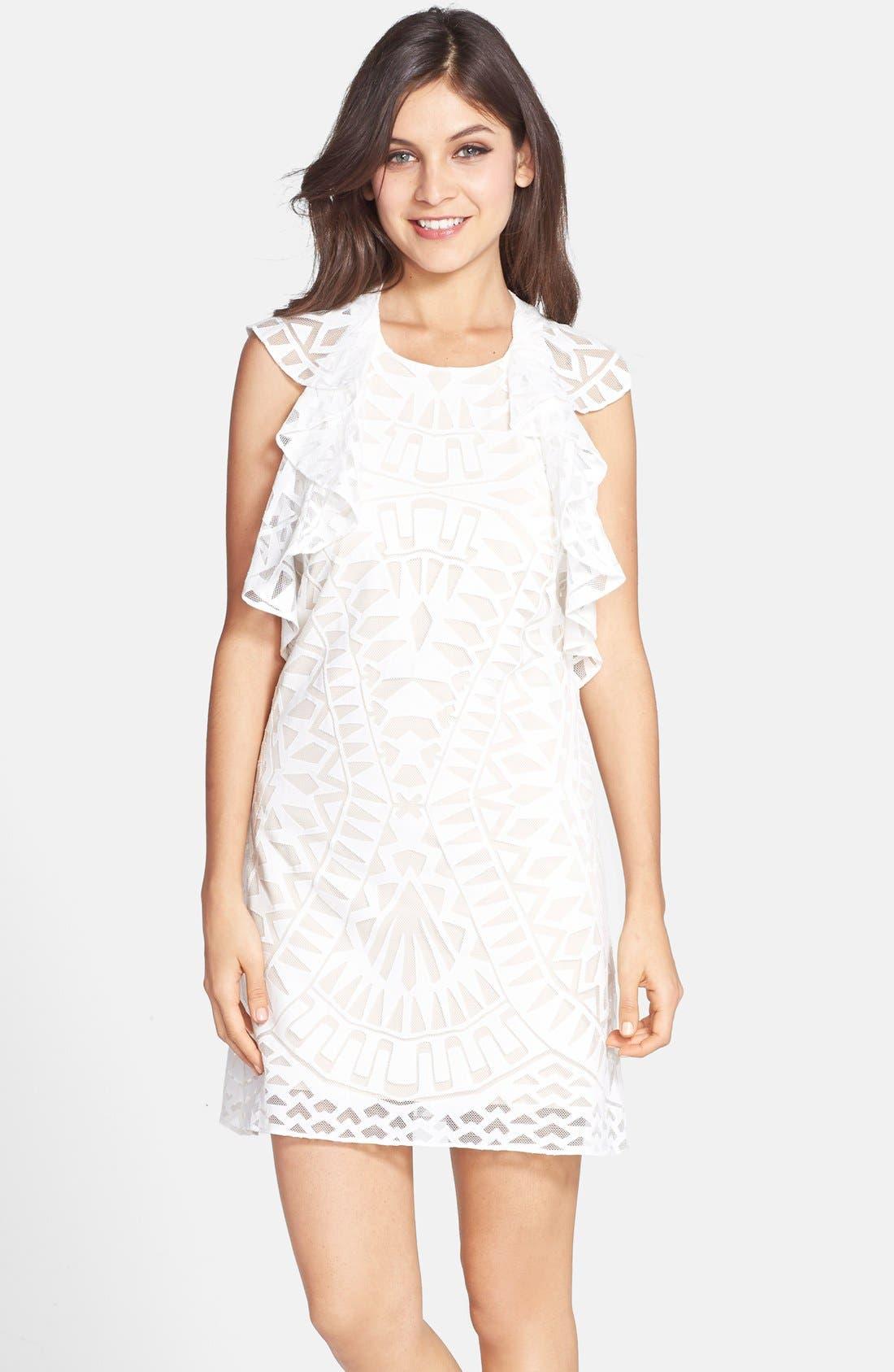 Ruffle Front Burnout Lace Shift Dress,                         Main,                         color, Off White