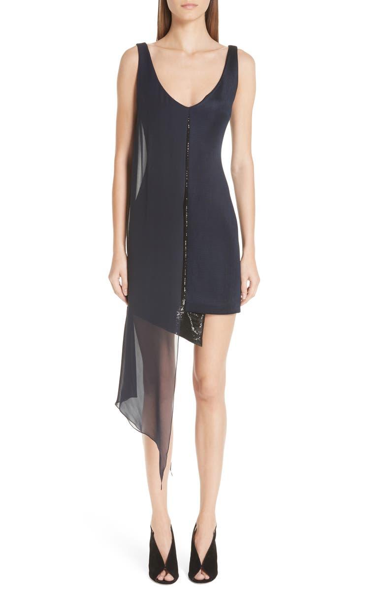 Serpentine Chiffon Overlay Sequin Dress