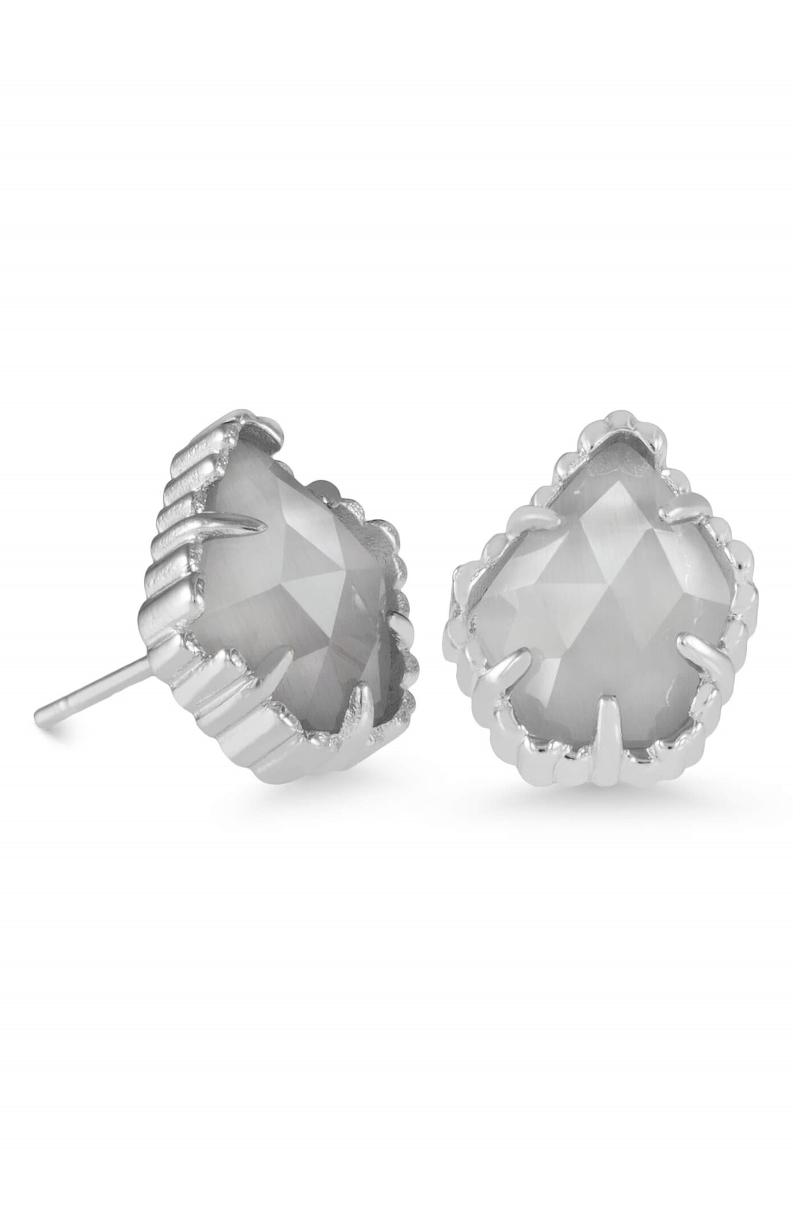 Tessa Stone Stud Earrings,                             Main thumbnail 1, color,                             Slate/ Silver