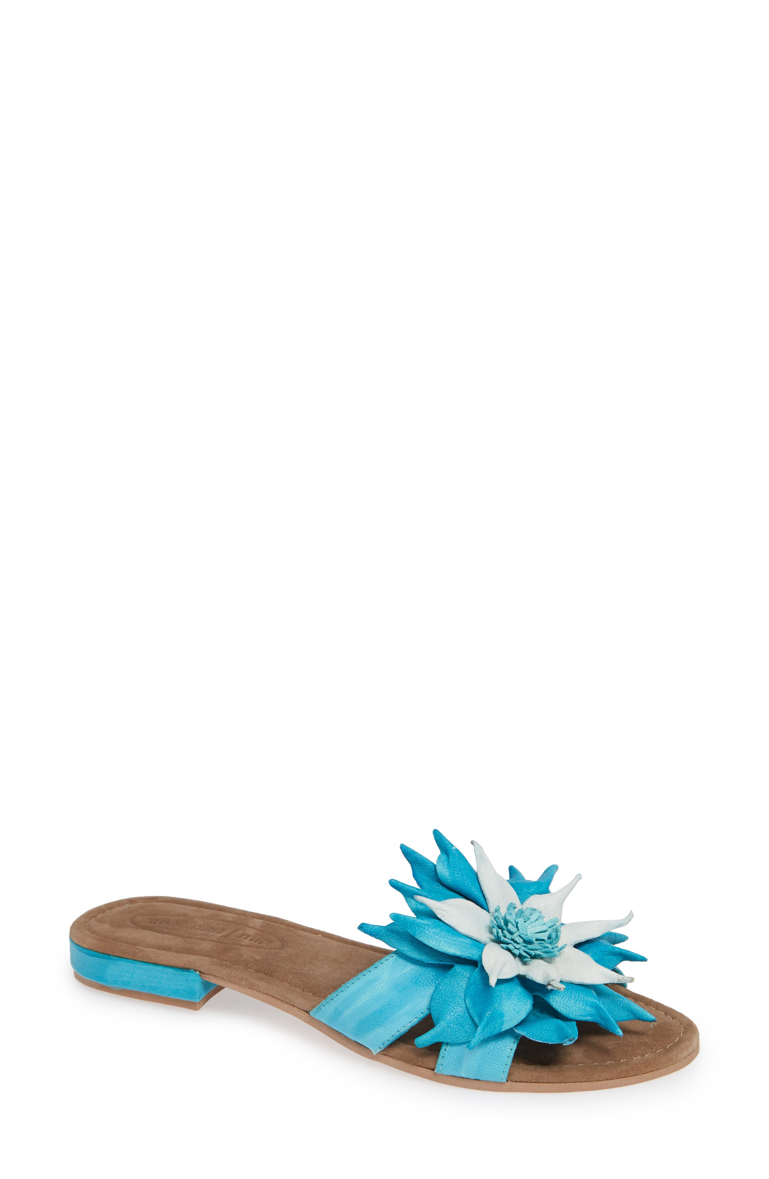 Stella Sandal,                             Main thumbnail 1, color,                             Turquoise Leather