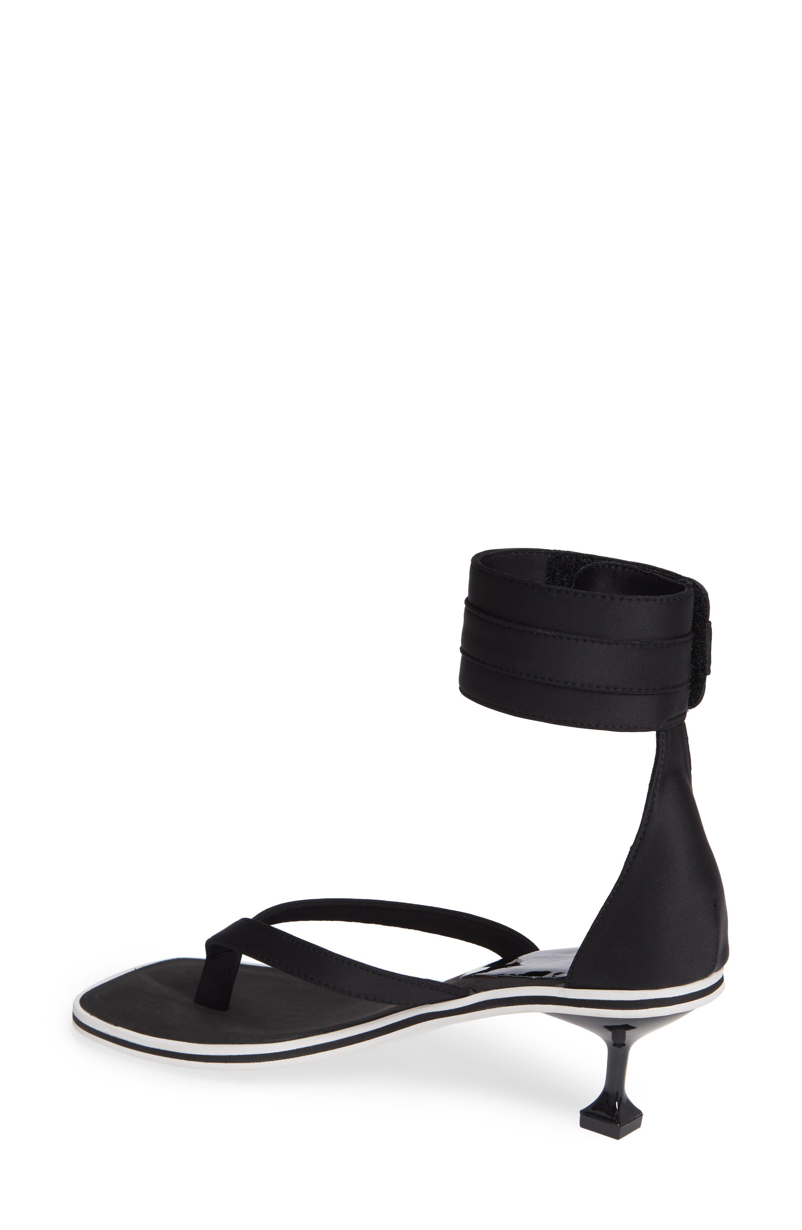Dribble Cuff Pedestal Sandal,                             Alternate thumbnail 2, color,                             Black Neoprene White Fabric